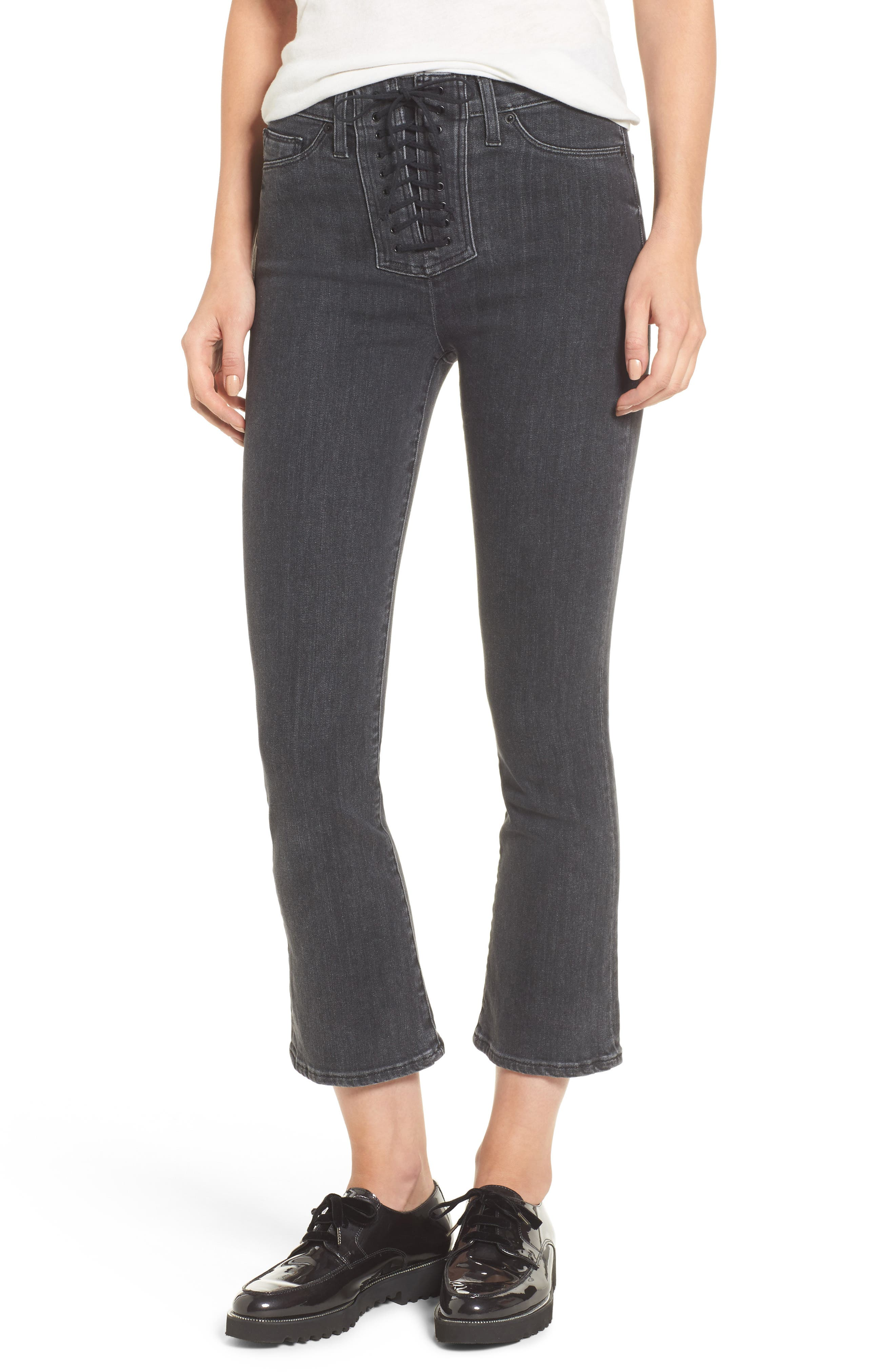 Alternate Image 1 Selected - Hudson Jeans Bullocks High Waist Lace-Up Crop Jeans (Disarm)