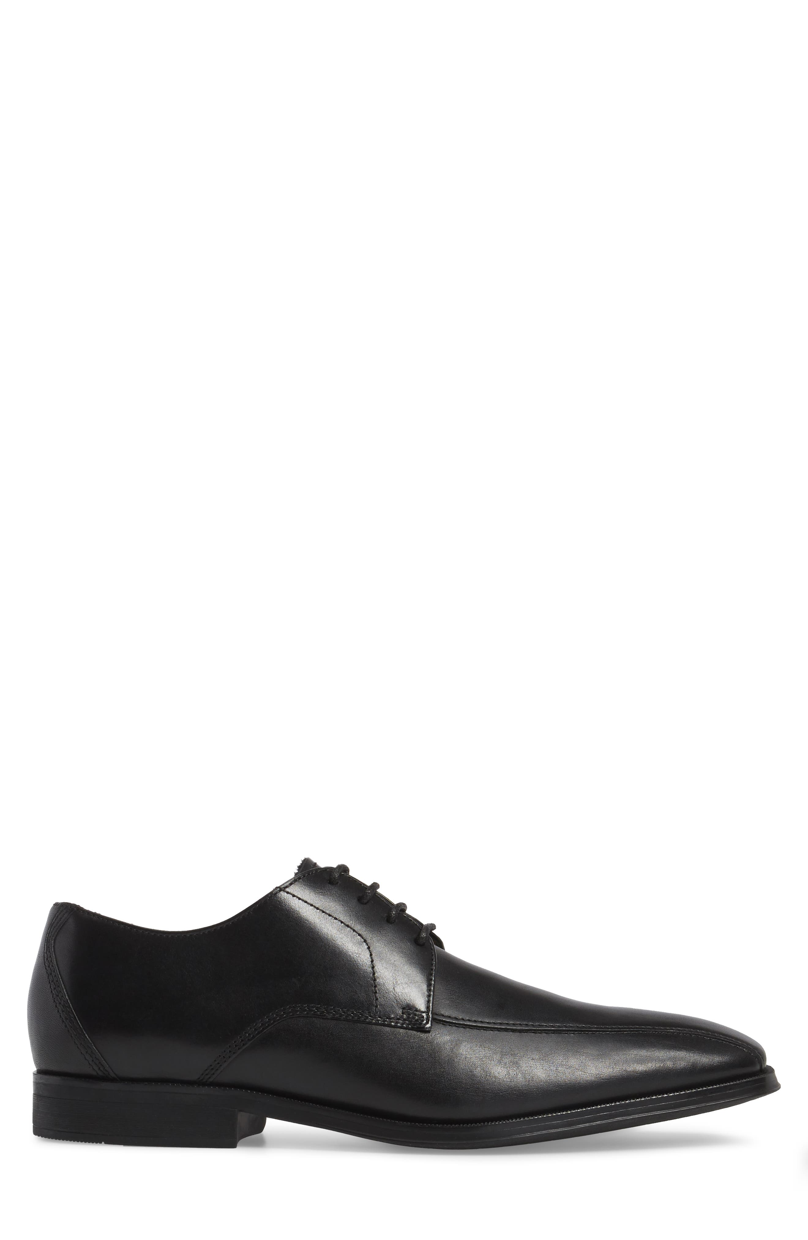Clarks Gilman Bicycle Toe Derby,                             Alternate thumbnail 3, color,                             Black Leather