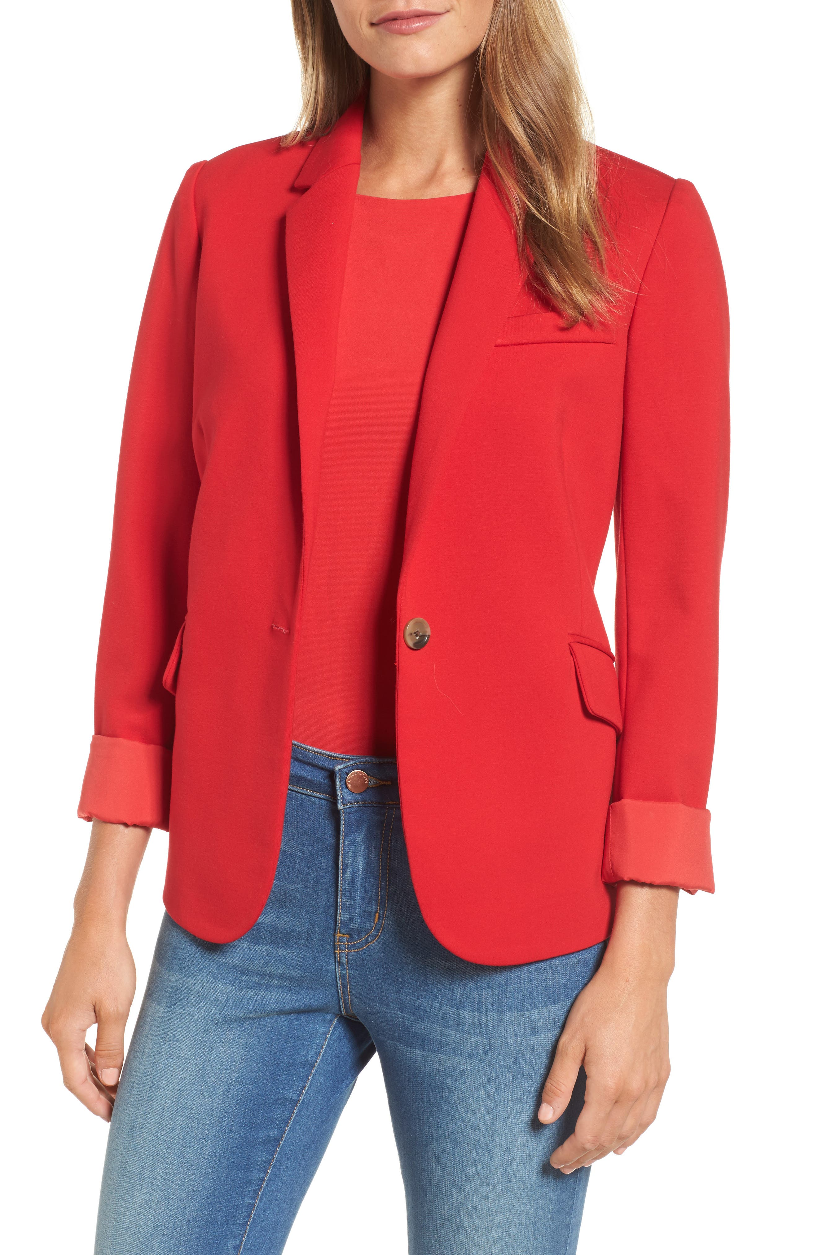 Halogon<sup>®</sup> Roll Sleeve Ponte Blazer,                         Main,                         color, Red Pepper