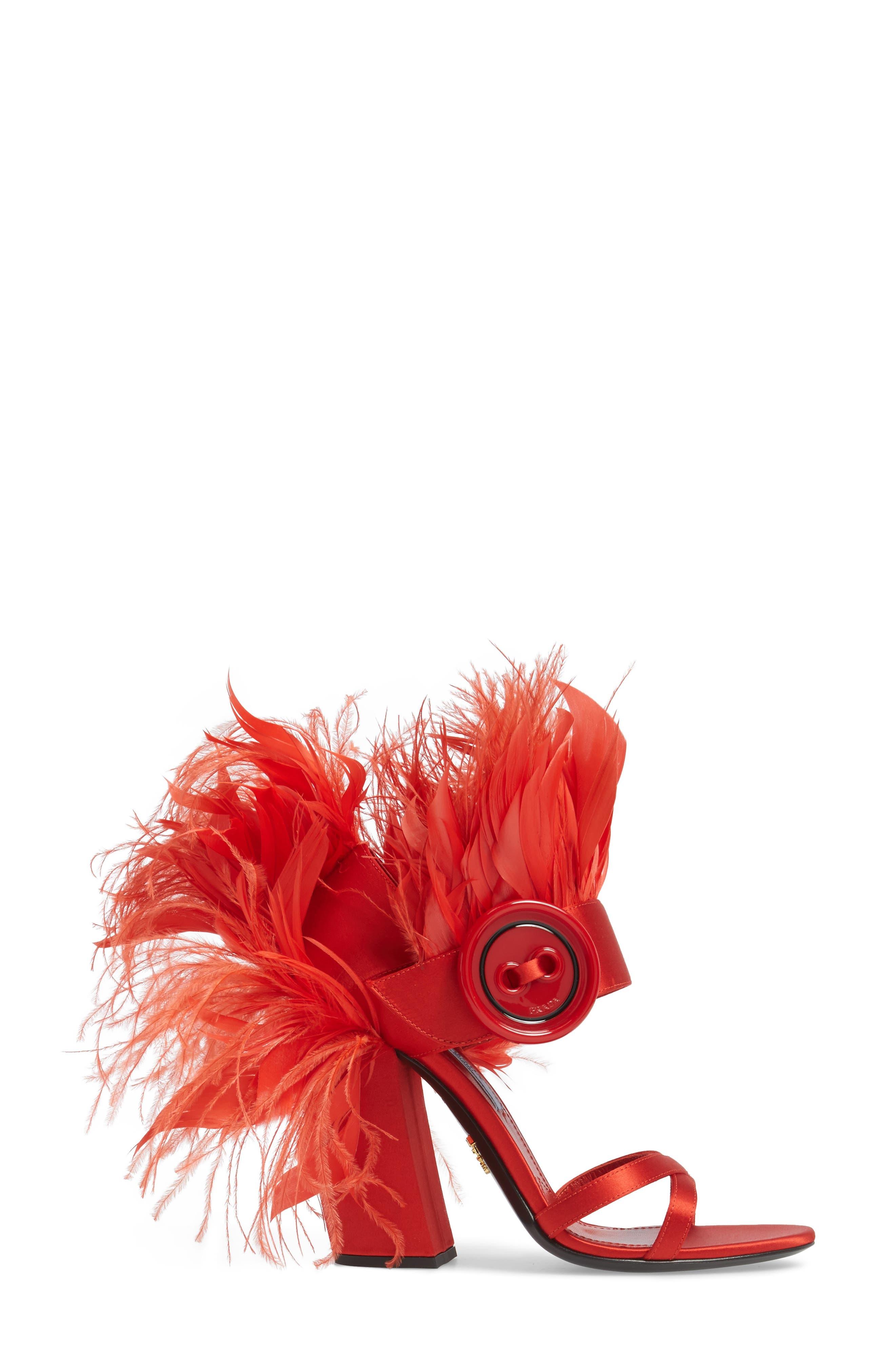 Feather Block Heel Sandal,                             Alternate thumbnail 3, color,                             Red Satin
