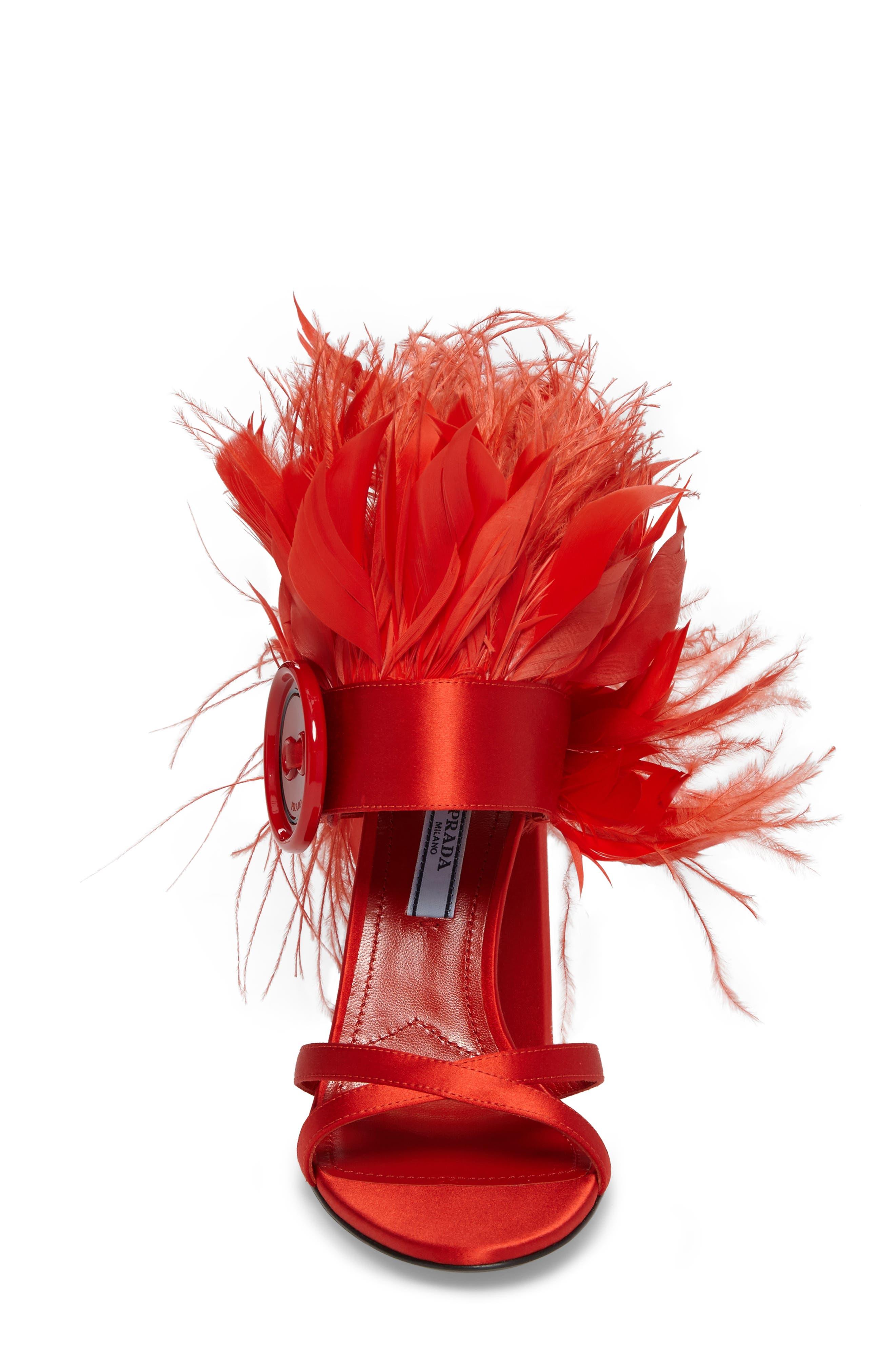 Feather Block Heel Sandal,                             Alternate thumbnail 4, color,                             Red Satin