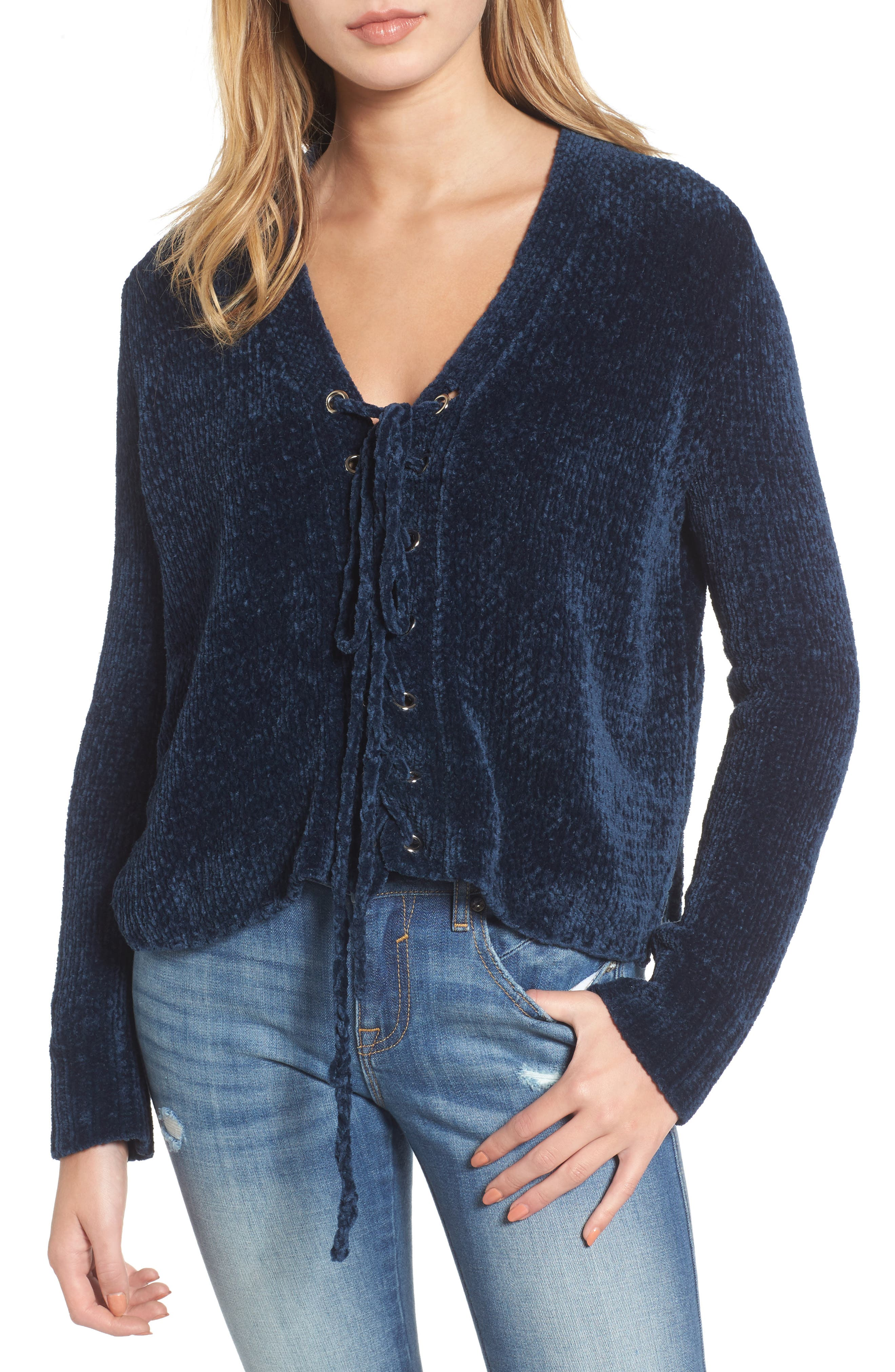 Main Image - Lost + Wander Maya Chenille Lace-Up Sweater