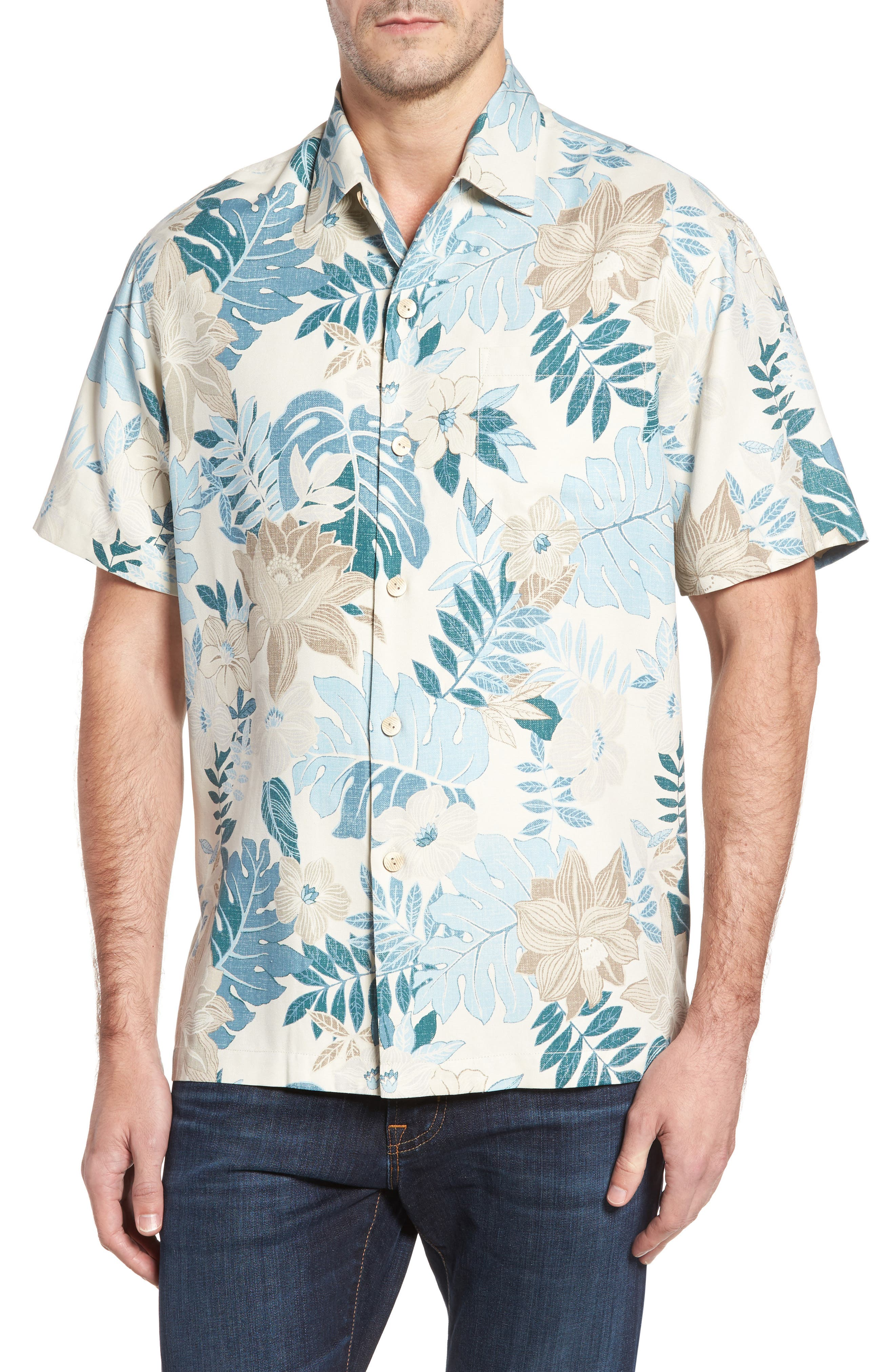 Desert Blooms Standard Fit Silk Camp Shirt,                         Main,                         color, Coconut Cream
