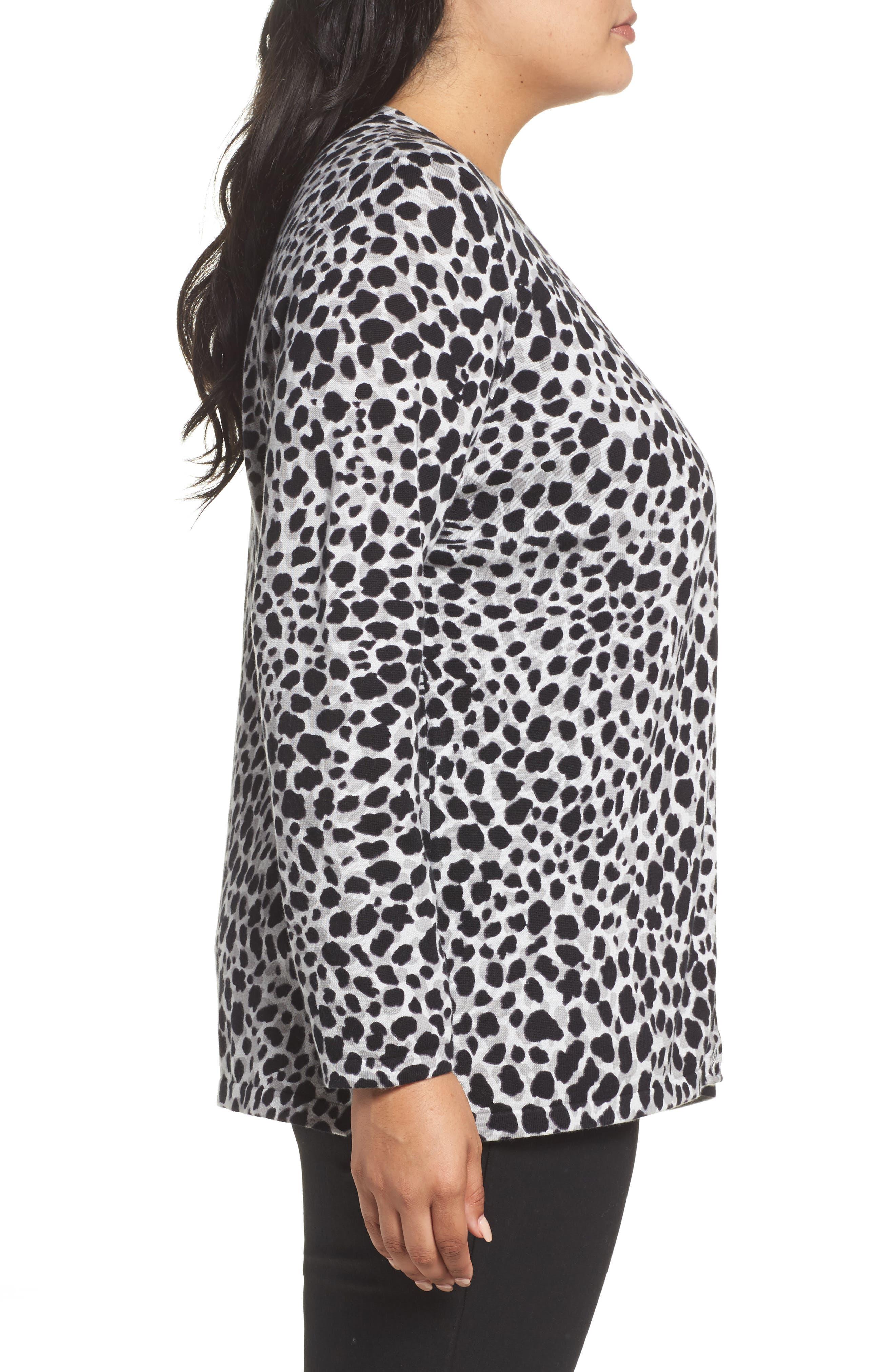Alternate Image 3  - Foxcroft Maya Leopard Print Cotton Cardigan (Plus Size)
