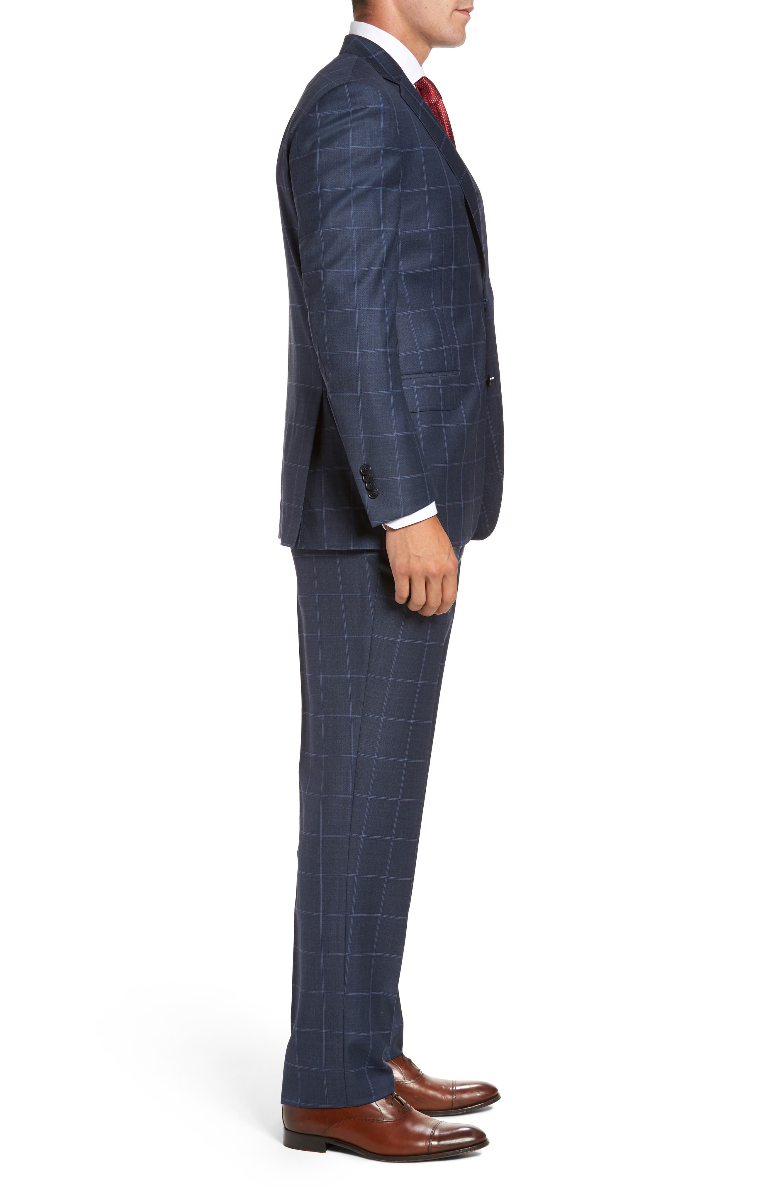Flynn Classic Fit Windowpane Wool Suit,                             Alternate thumbnail 3, color,                             Blue