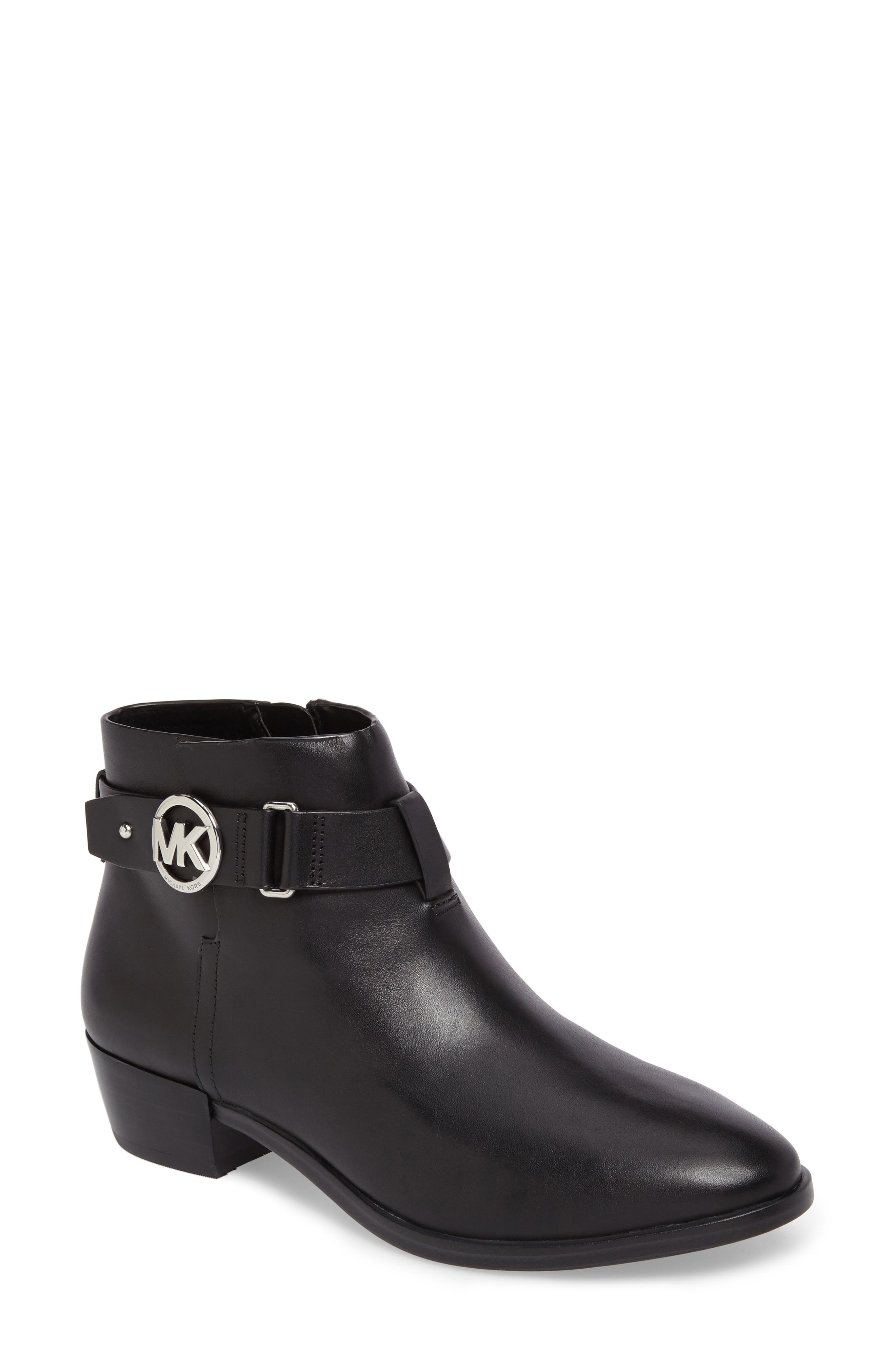 Harland Logo Charm Bootie,                         Main,                         color, Black