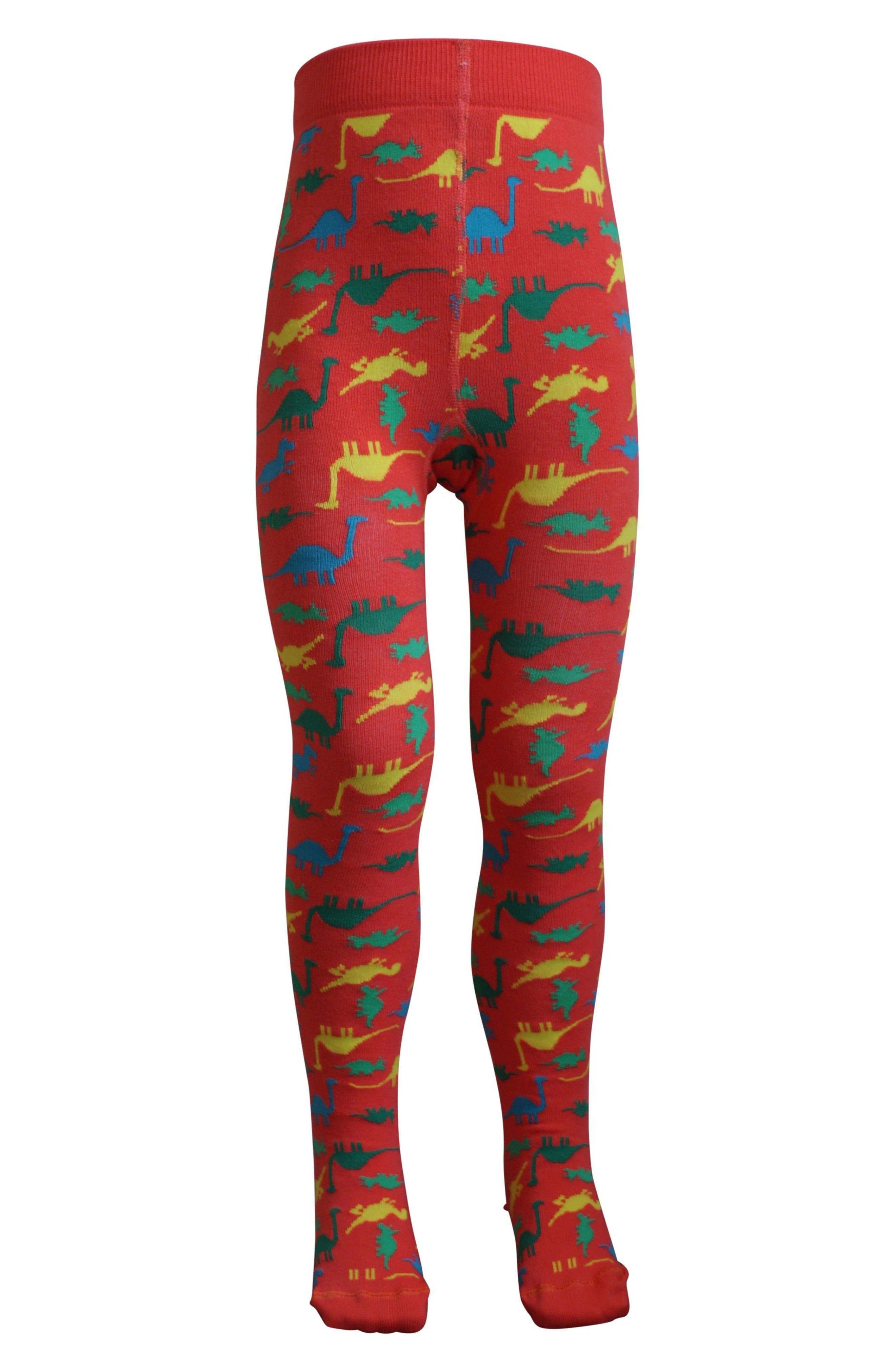 Dinosaur Tights,                         Main,                         color, Sunset Red