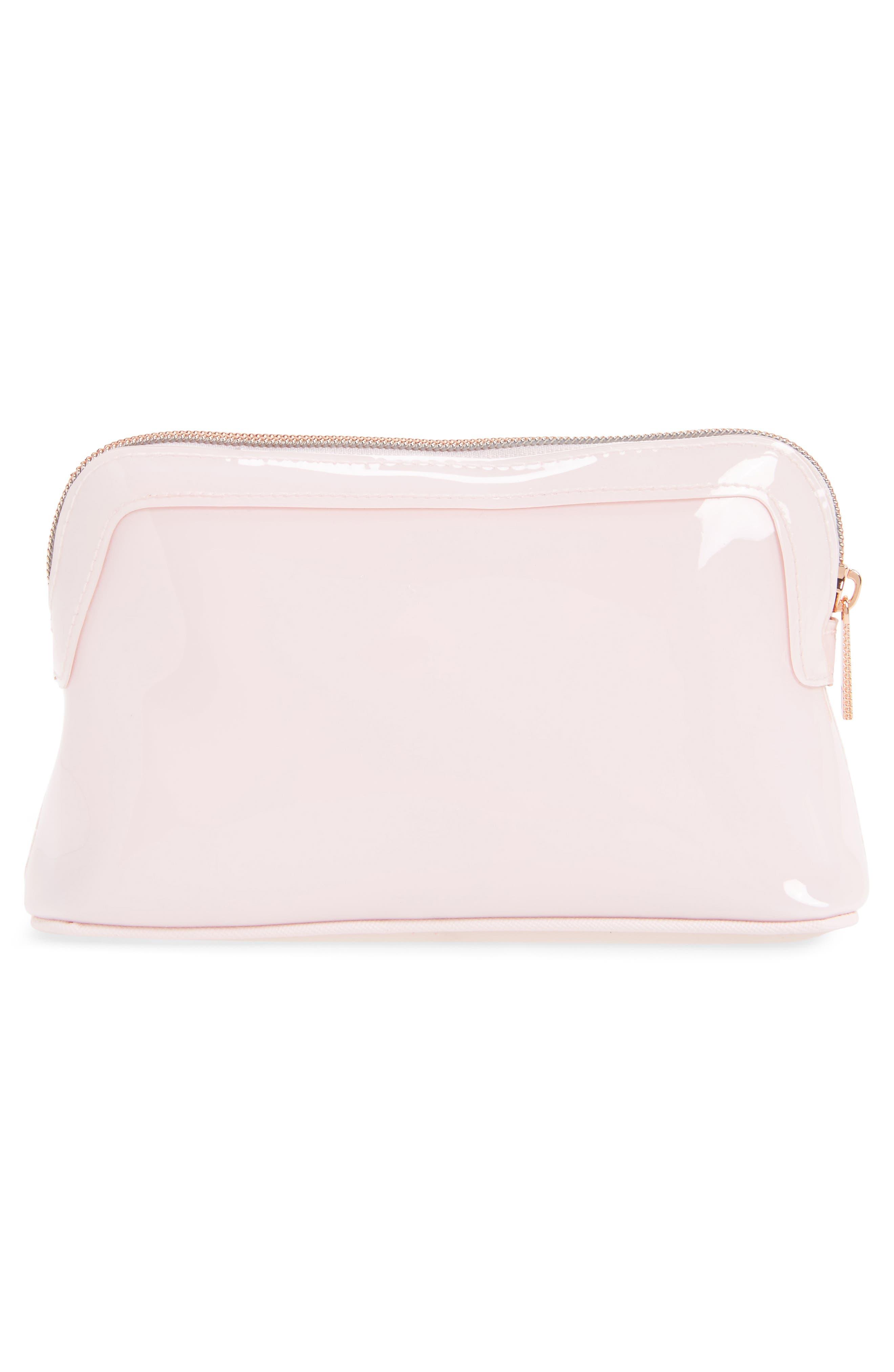 Julis Bow PVC Cosmetics Case,                             Alternate thumbnail 2, color,                             Dusky Pink