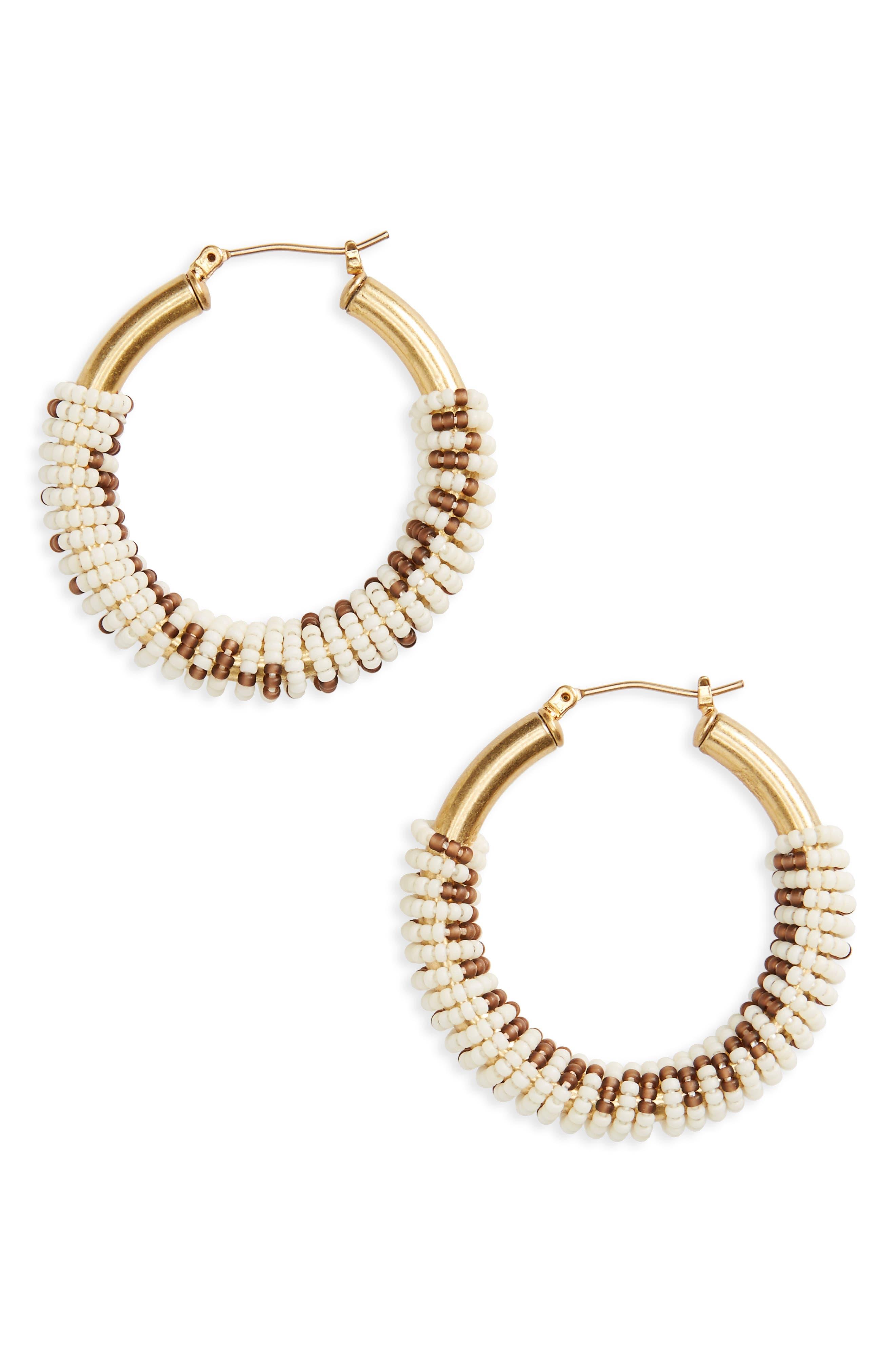 Madewell Bead Wrapped Hoop Earrings