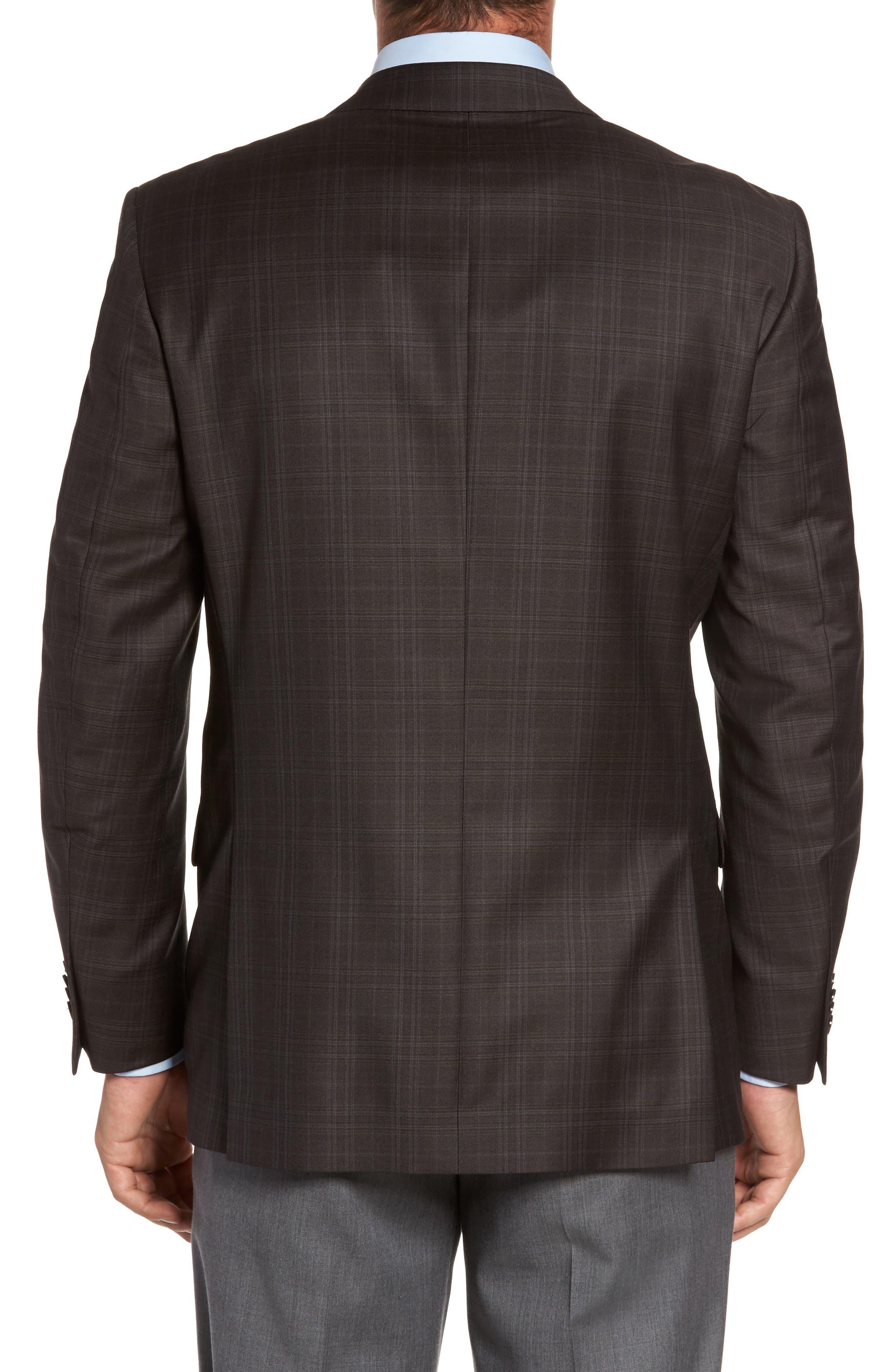 Flynn Classic Fit Plaid Wool Sport Coat,                             Alternate thumbnail 2, color,                             Brown