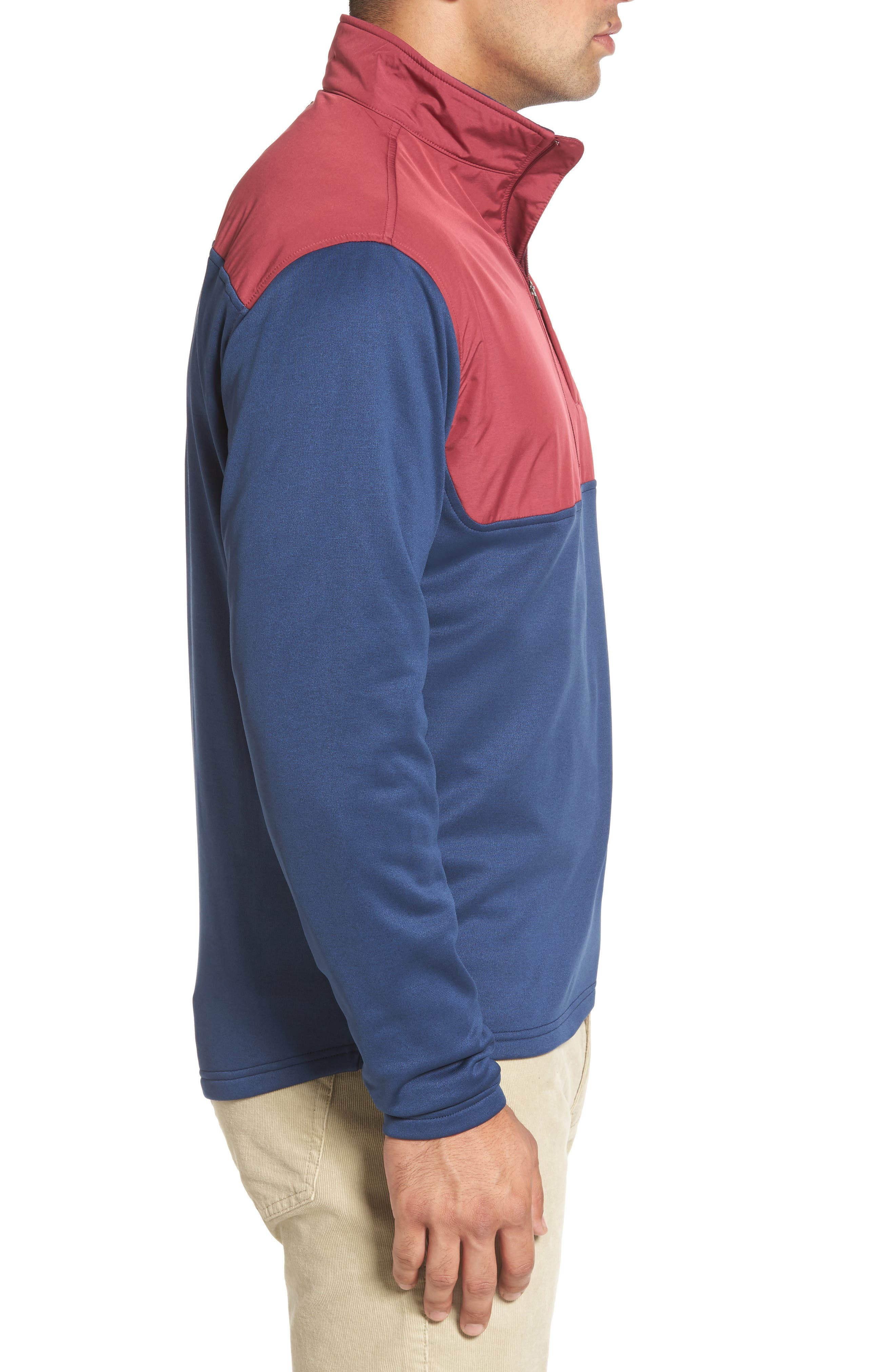 Cameron Hybrid Half Zip Pullover,                             Alternate thumbnail 3, color,                             Midnight/ French Wine