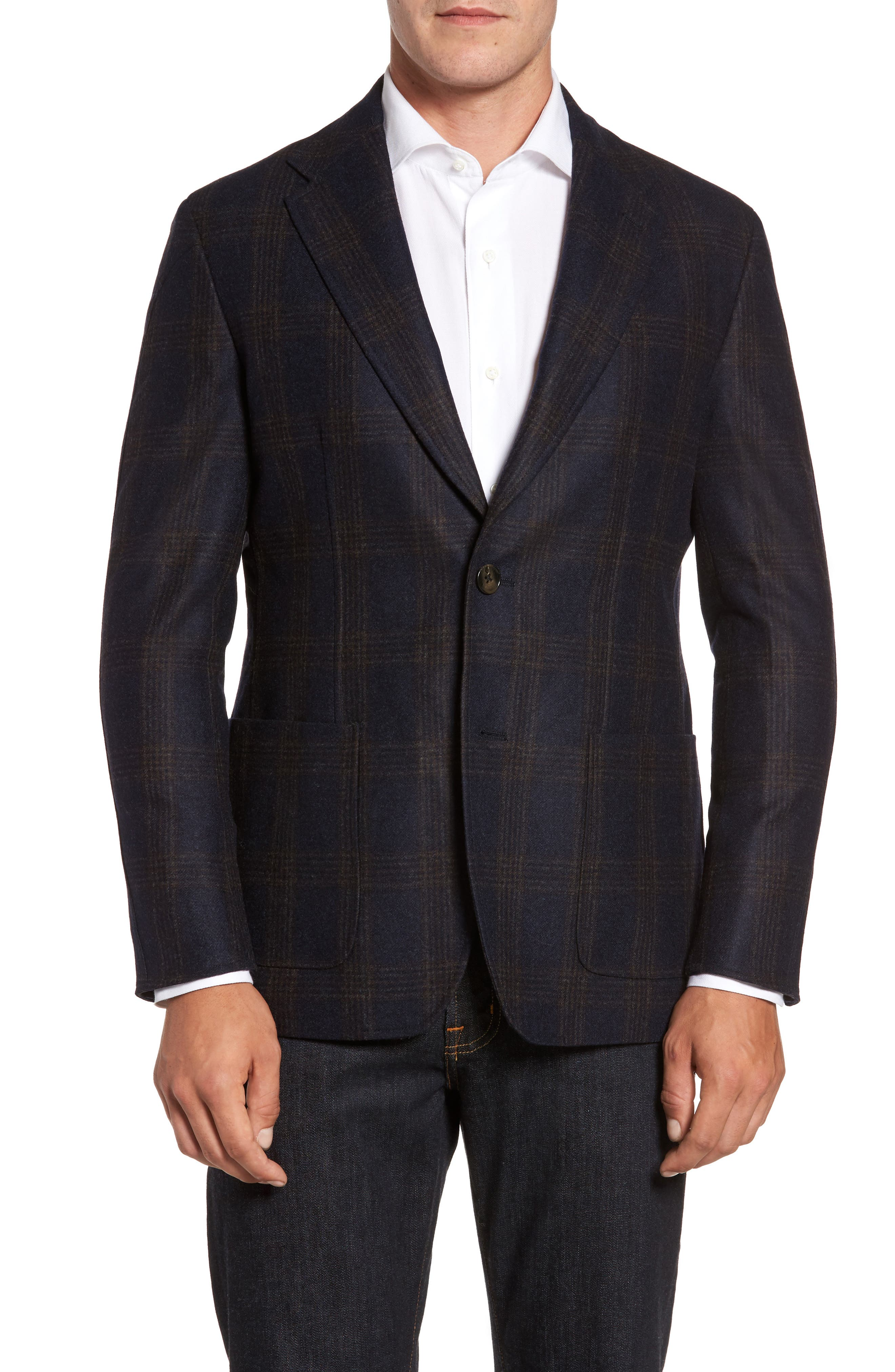 Classic Fit Hooded Sport Coat,                             Alternate thumbnail 4, color,                             Navy Plaid