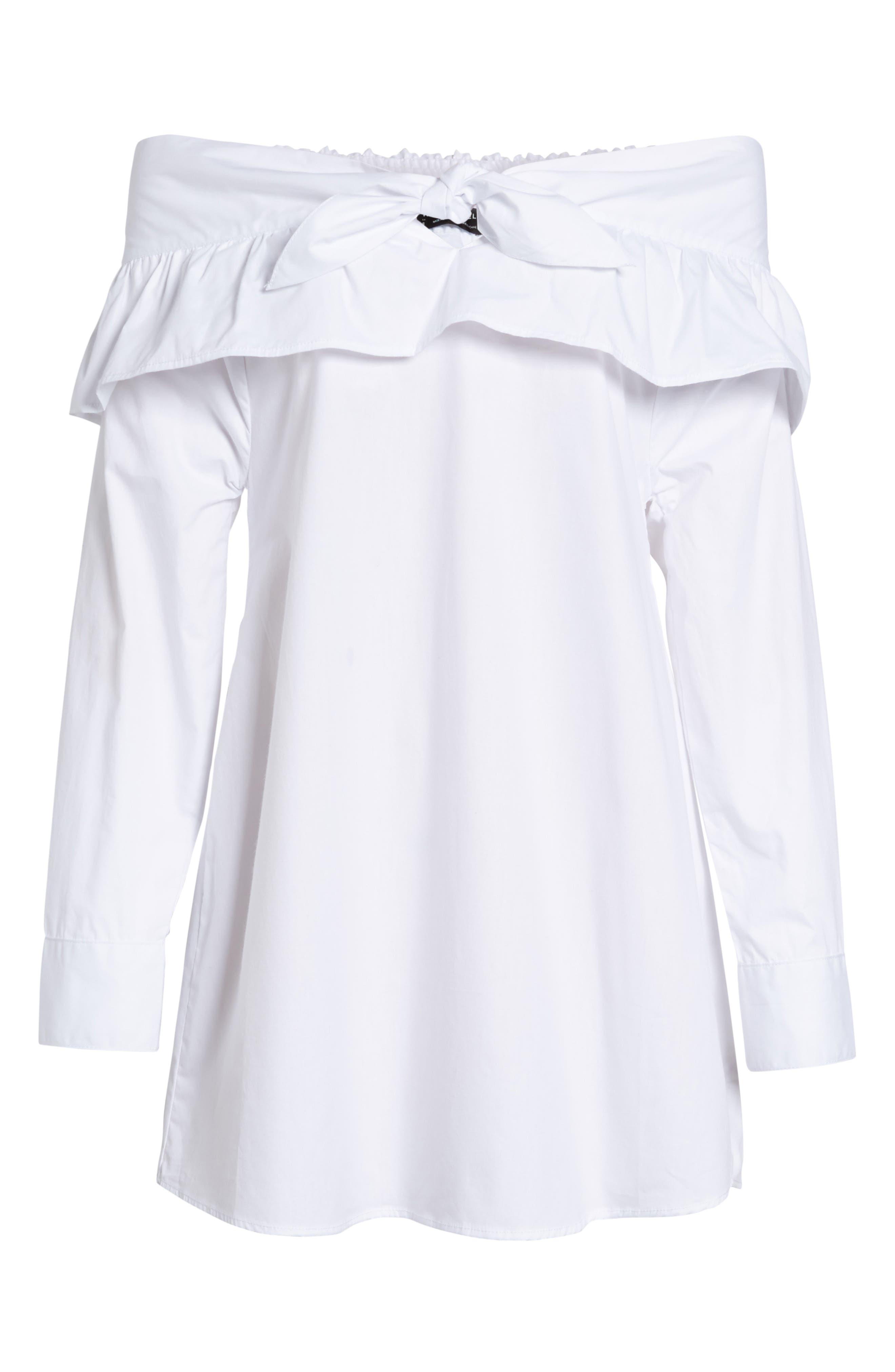Paper Planes Off the Shoulder Dress,                             Alternate thumbnail 7, color,                             White