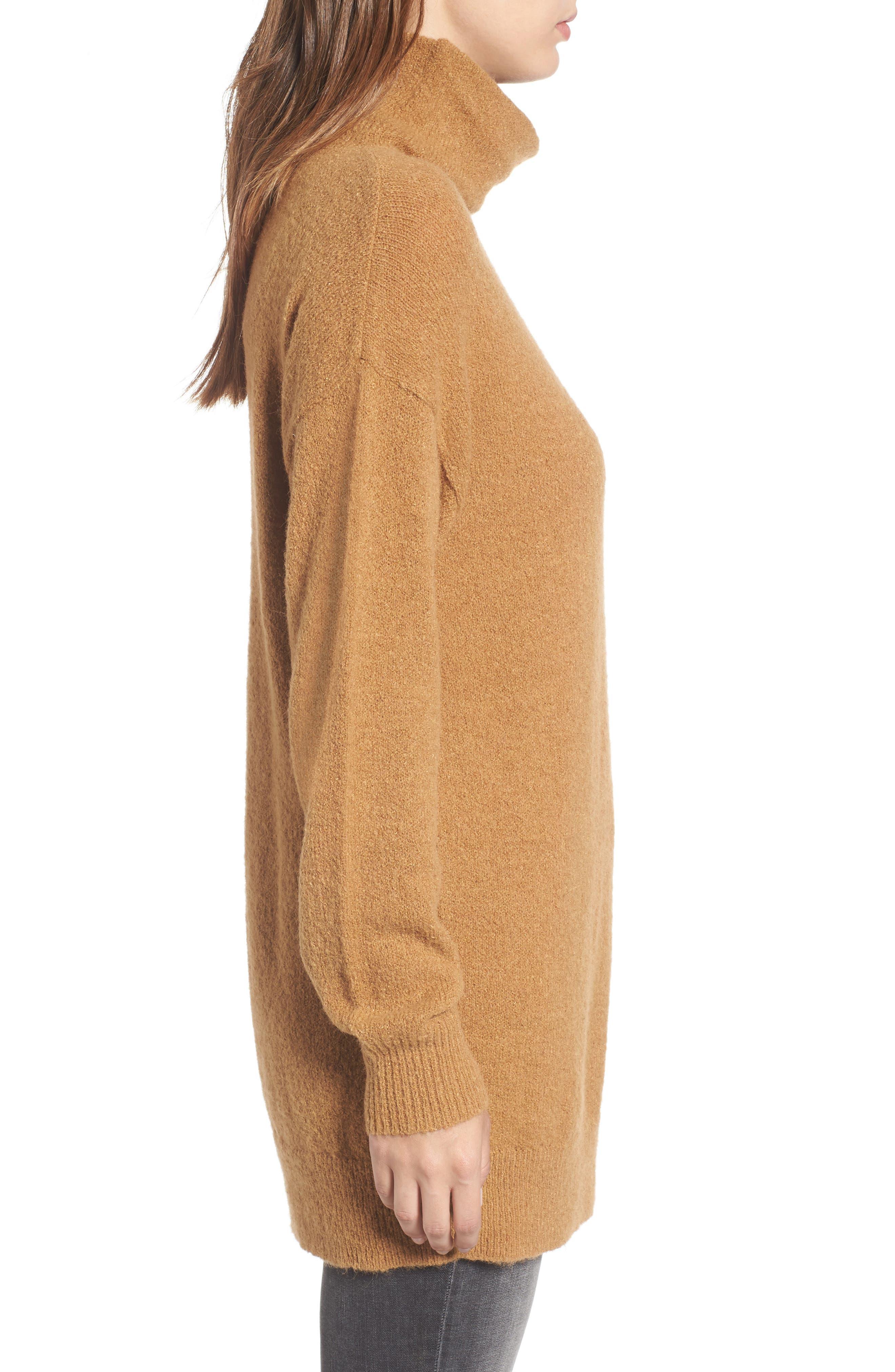 Bouclé Turtleneck Tunic Sweater,                             Alternate thumbnail 3, color,                             Brown Cattail