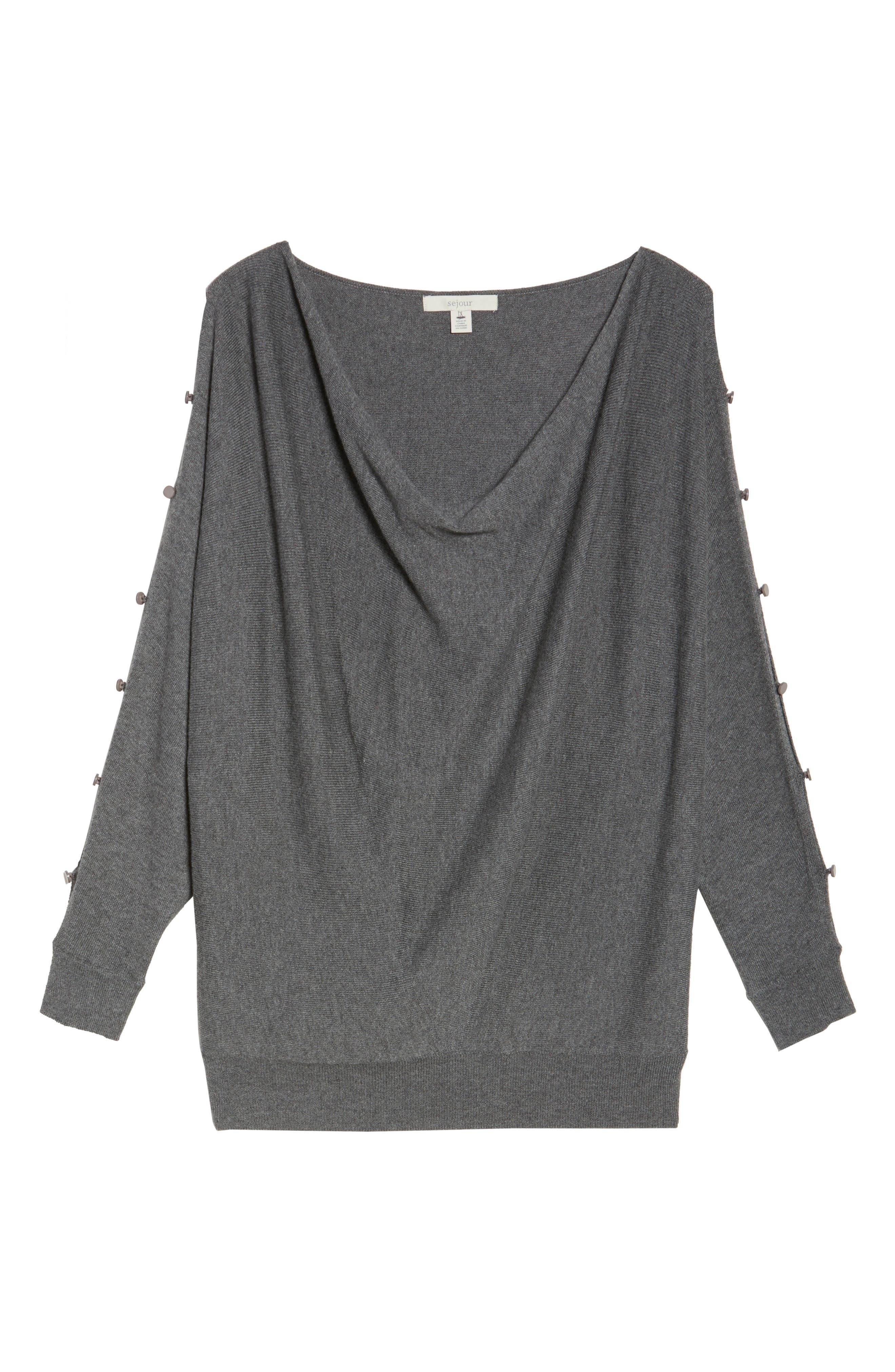 Alternate Image 6  - Sejour Button Sleeve Sweater (Plus Size)