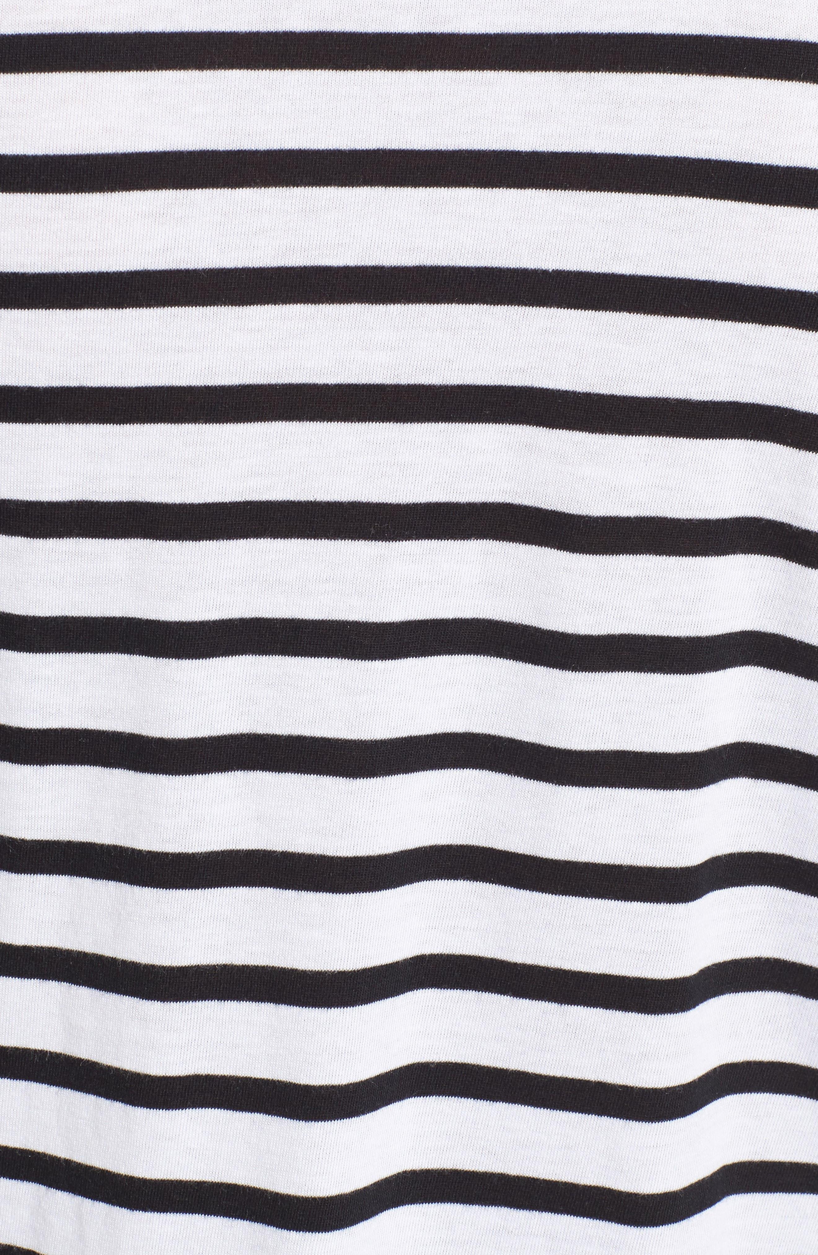 Open Shoulder Stripe Top,                             Alternate thumbnail 5, color,                             White Black