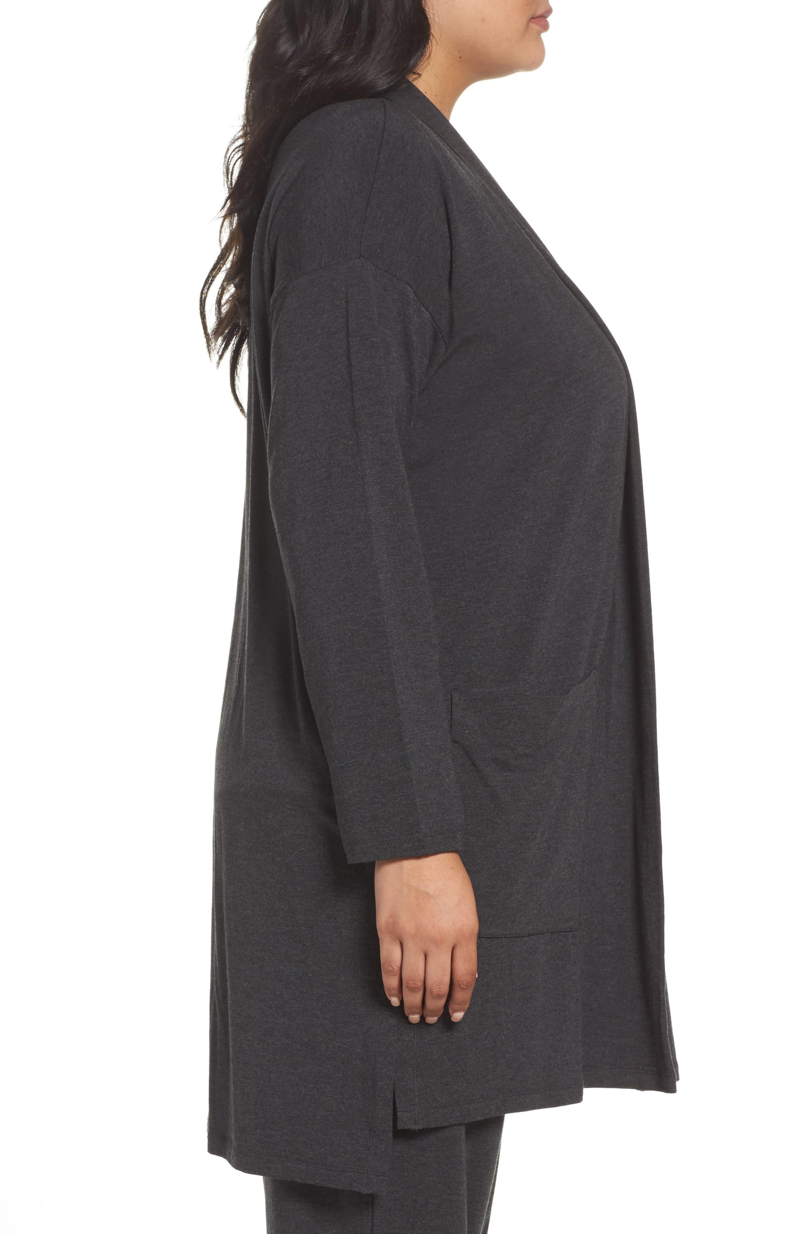 Long Kimono Cardigan,                             Alternate thumbnail 3, color,                             Charcoal