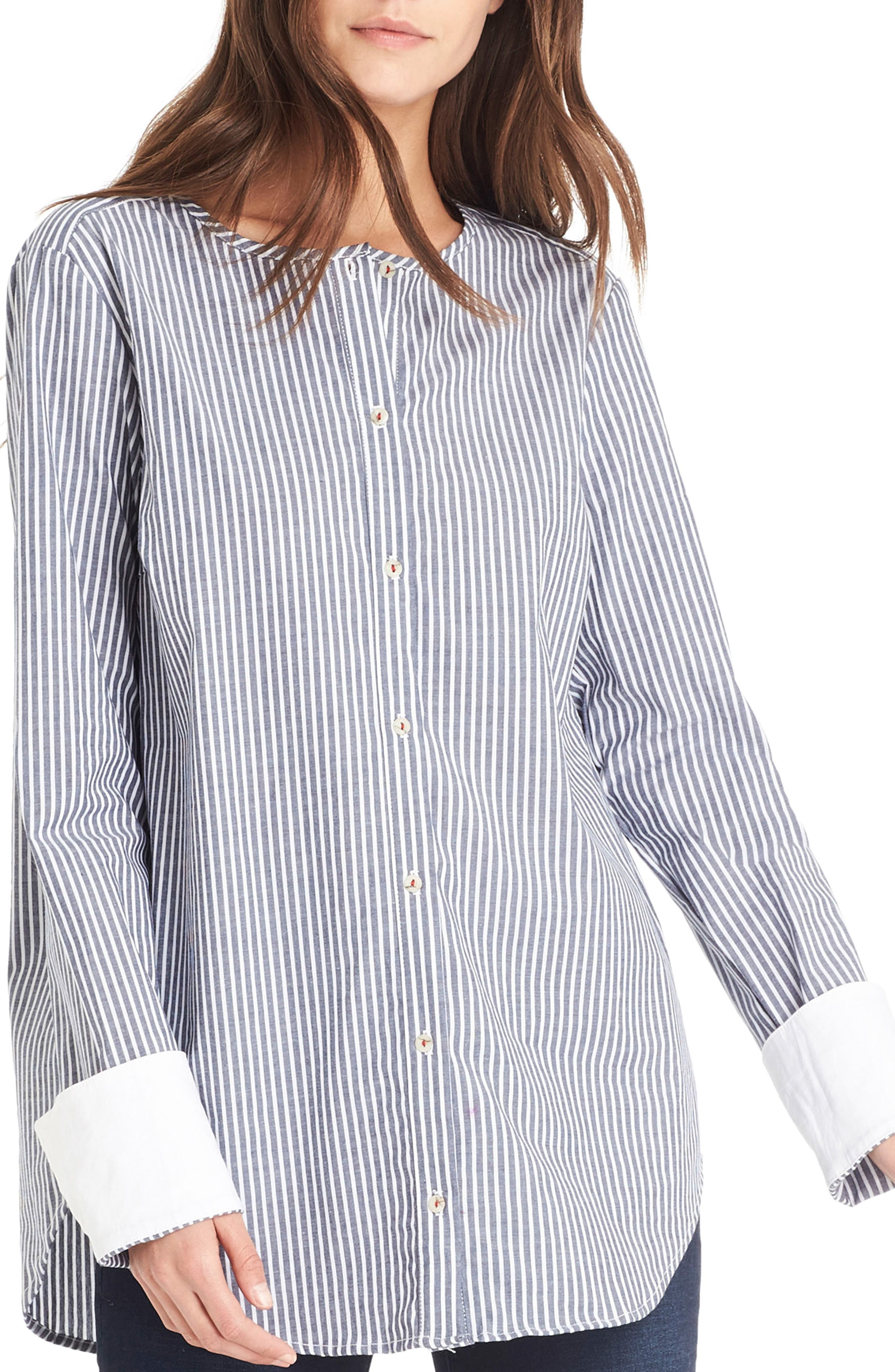 Contrast Cuff Shirt,                         Main,                         color, Noct/ White