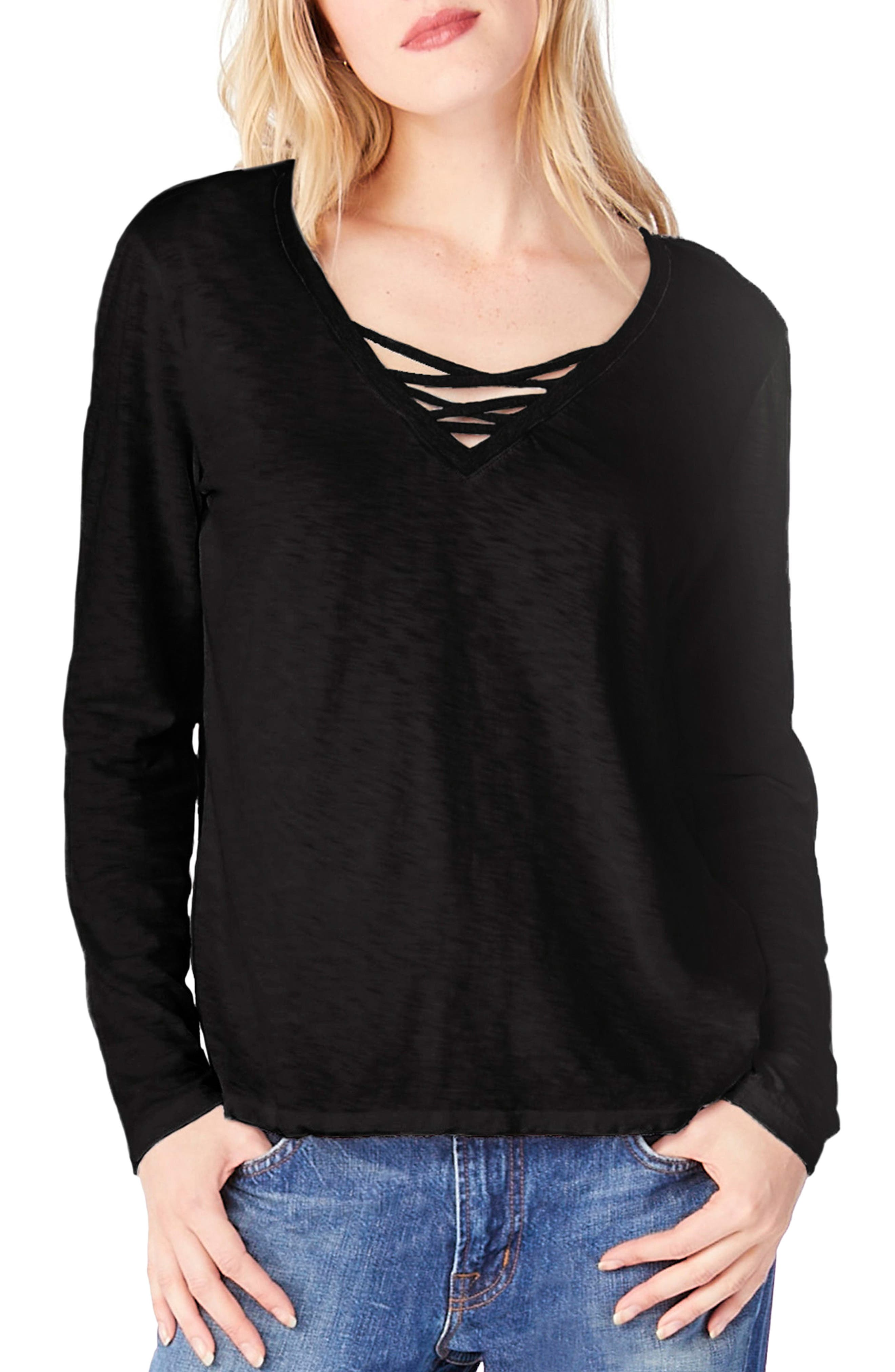 Strappy V-Neck Top,                             Main thumbnail 1, color,                             Black