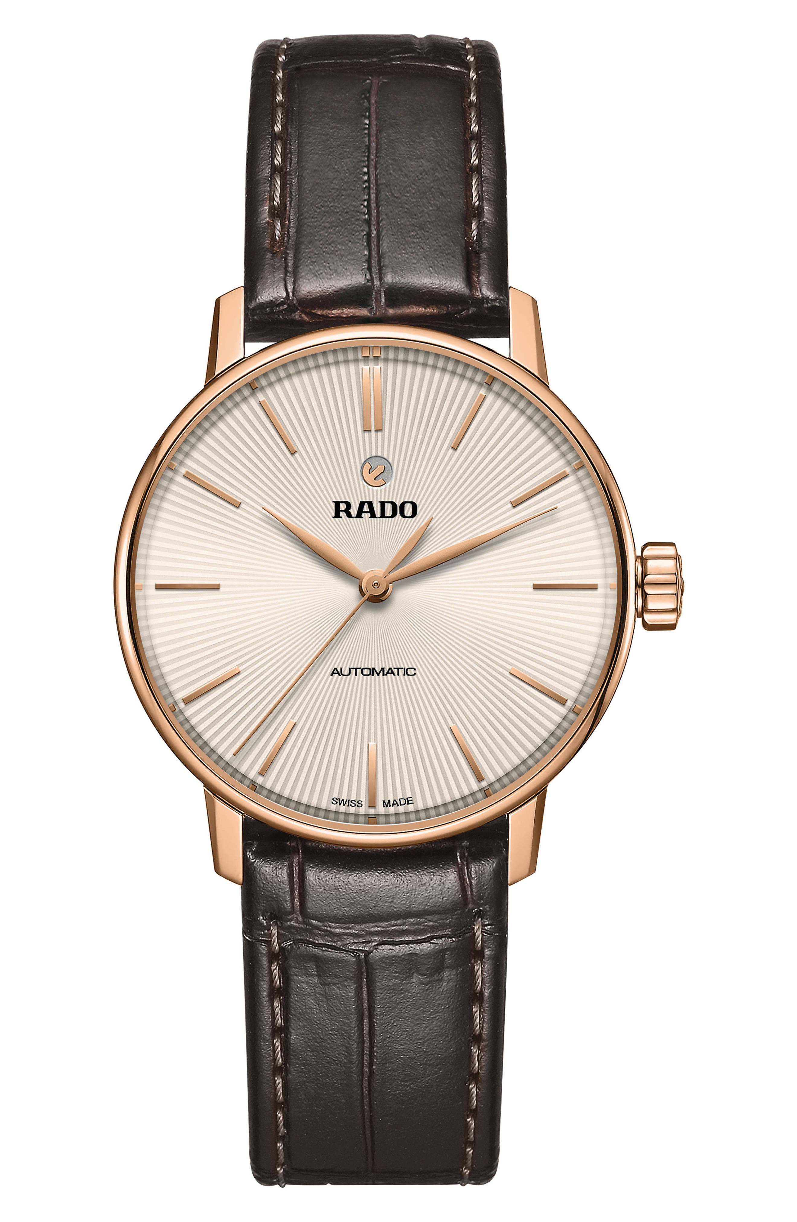 Alternate Image 1 Selected - RADO Coupole Classic Automatic Leather Strap Watch, 31.8mm