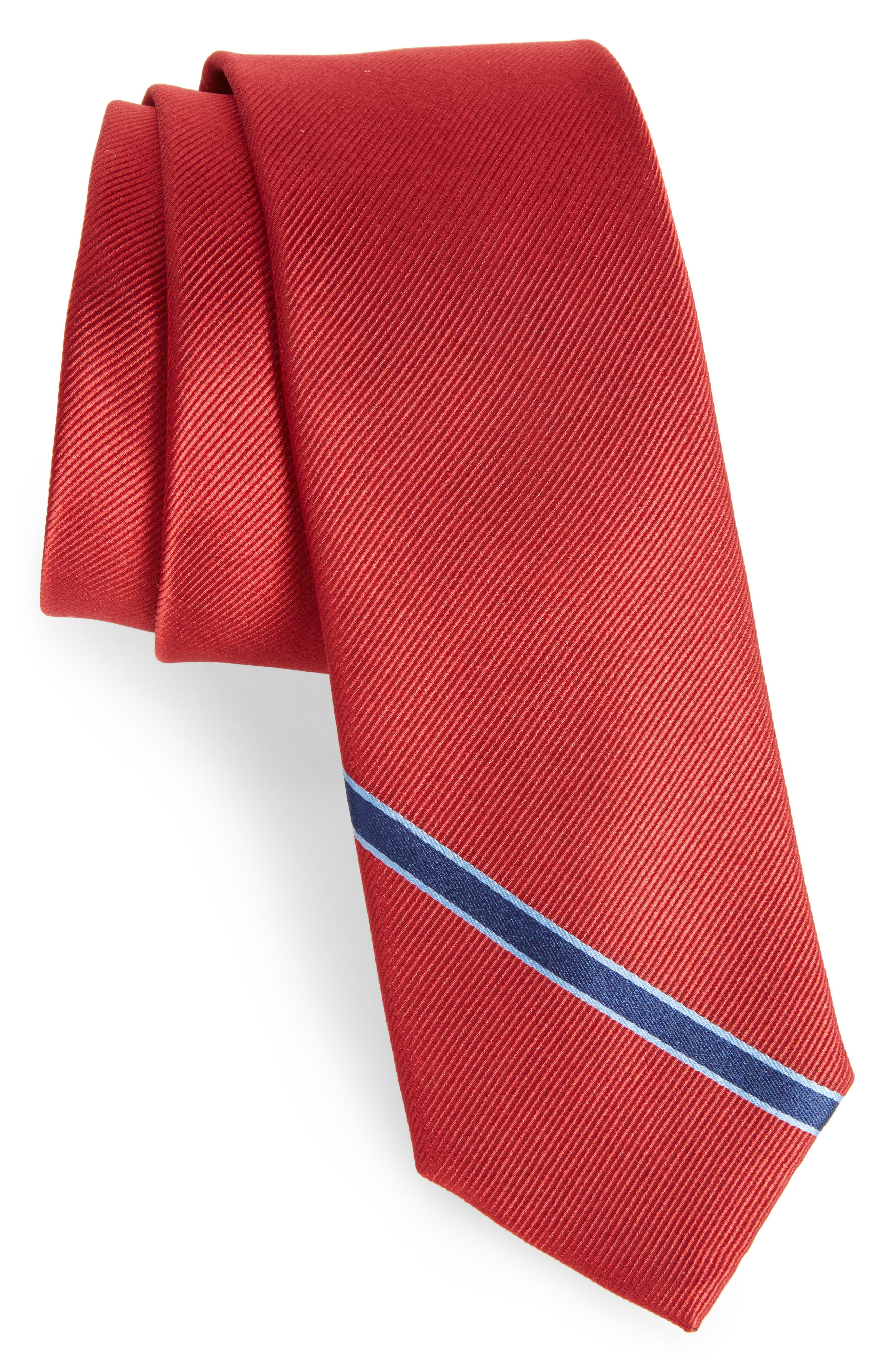 Triple Play Stripe Silk Tie,                         Main,                         color, Red