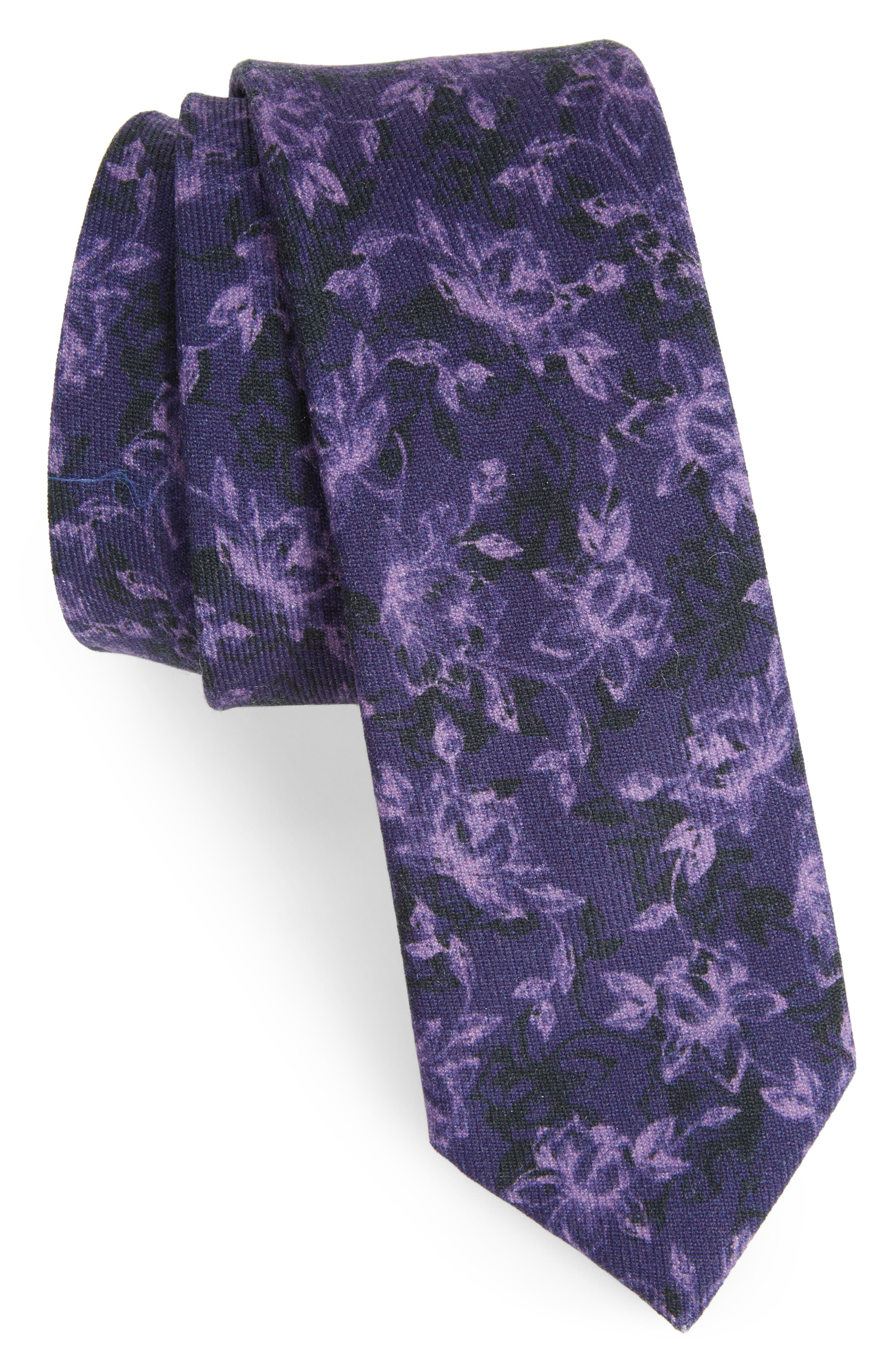 Floral Wool Tie,                         Main,                         color, Eggplant