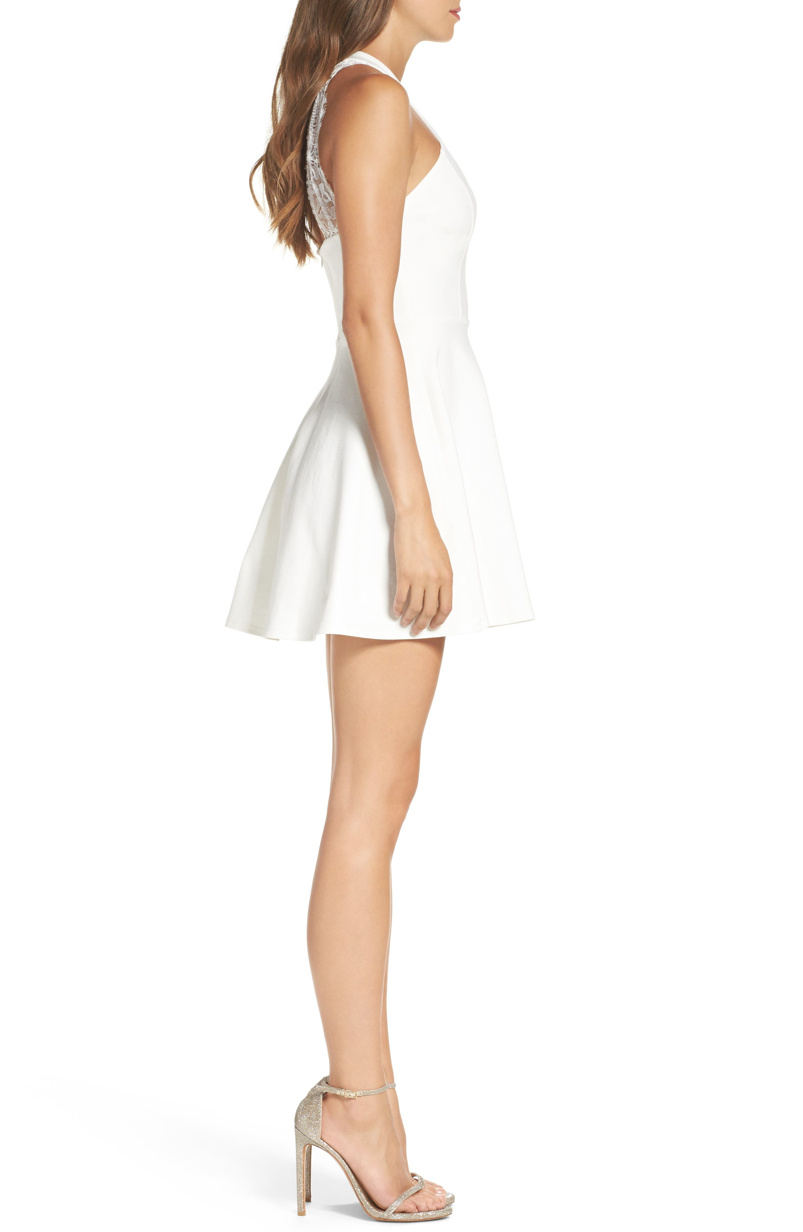 Endlessly Alluring Lace Trim Fit & Flare Dress,                             Alternate thumbnail 3, color,                             White