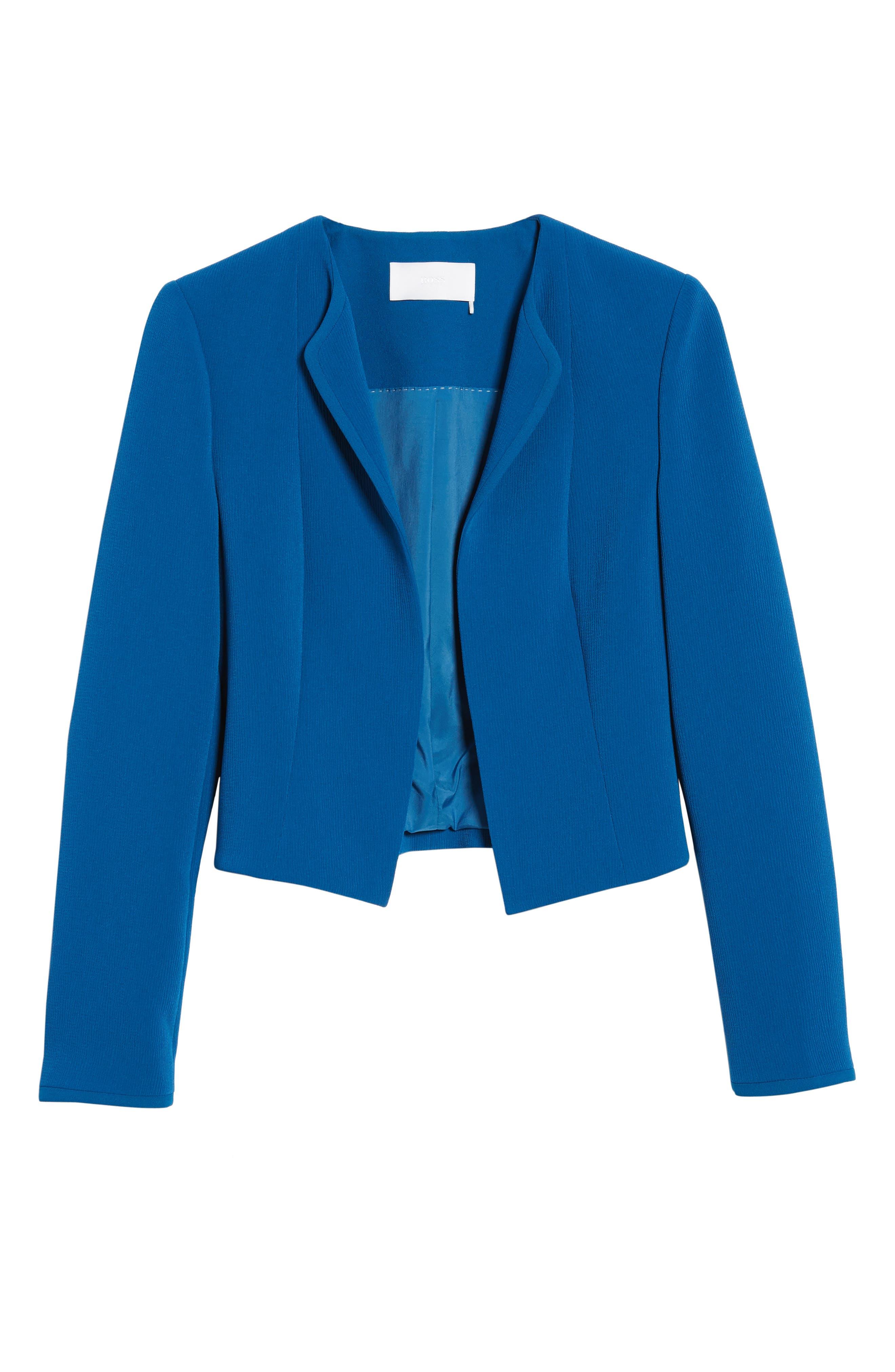 Jerusa Crop Suit Jacket,                             Alternate thumbnail 6, color,                             Gentian Blue