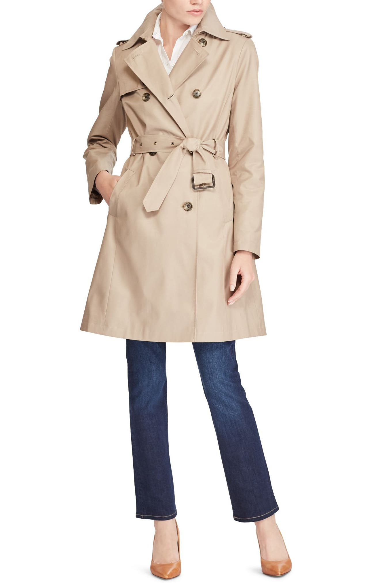Double Breasted Trench Coat,                             Alternate thumbnail 2, color,                             Sand