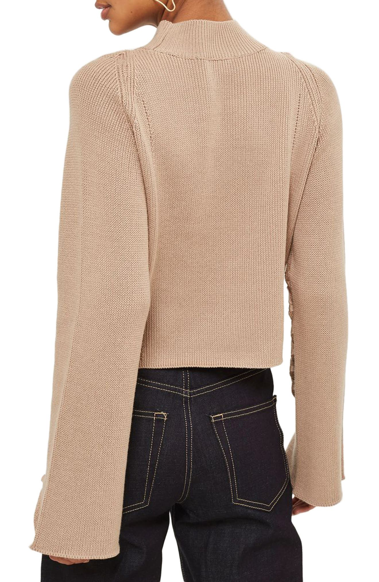 Lace Sleeve Funnel Neck Sweater,                             Alternate thumbnail 3, color,                             Mink