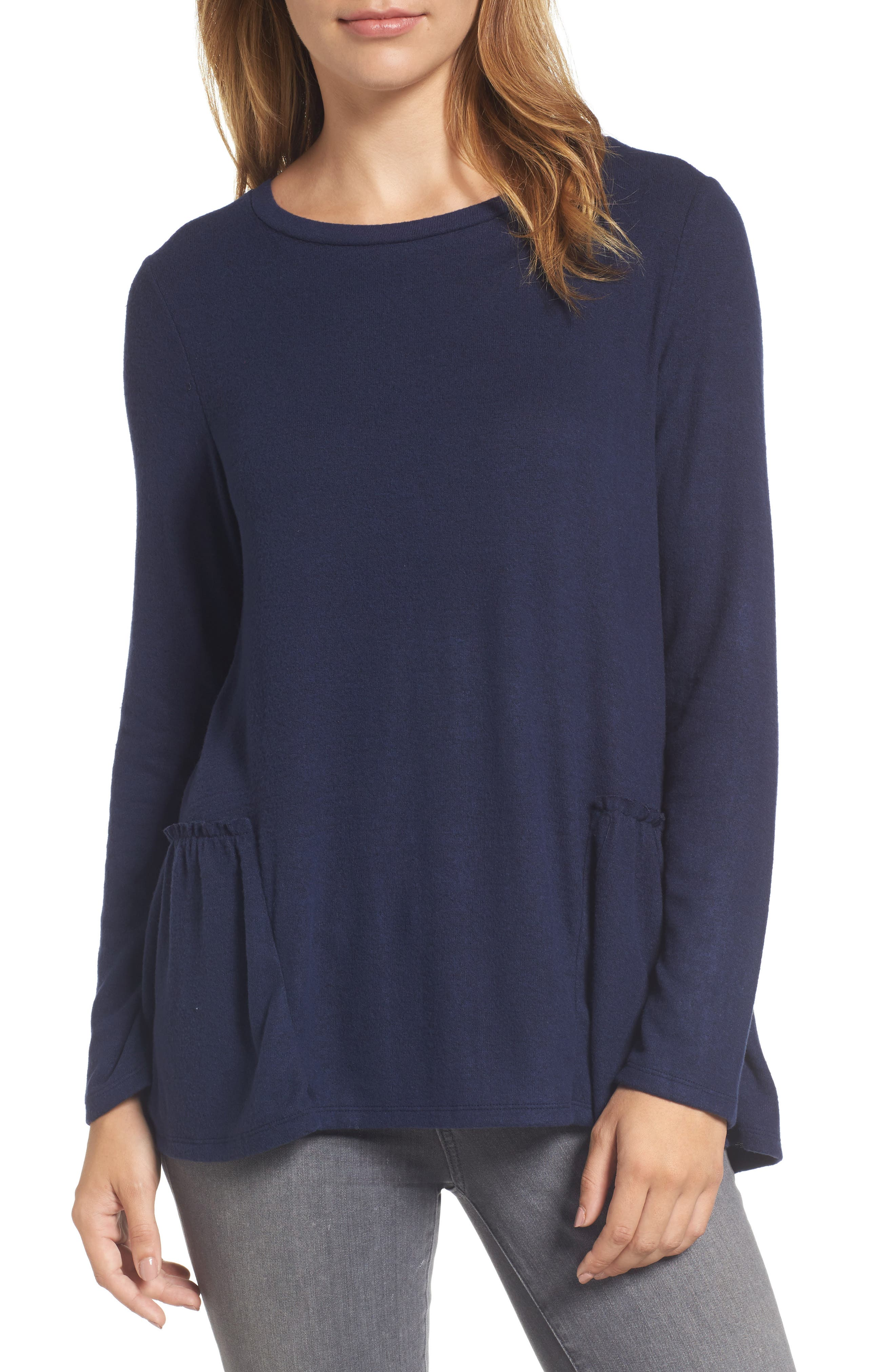 Caslon® Cozy Back Peplum Top (Regular & Petite)