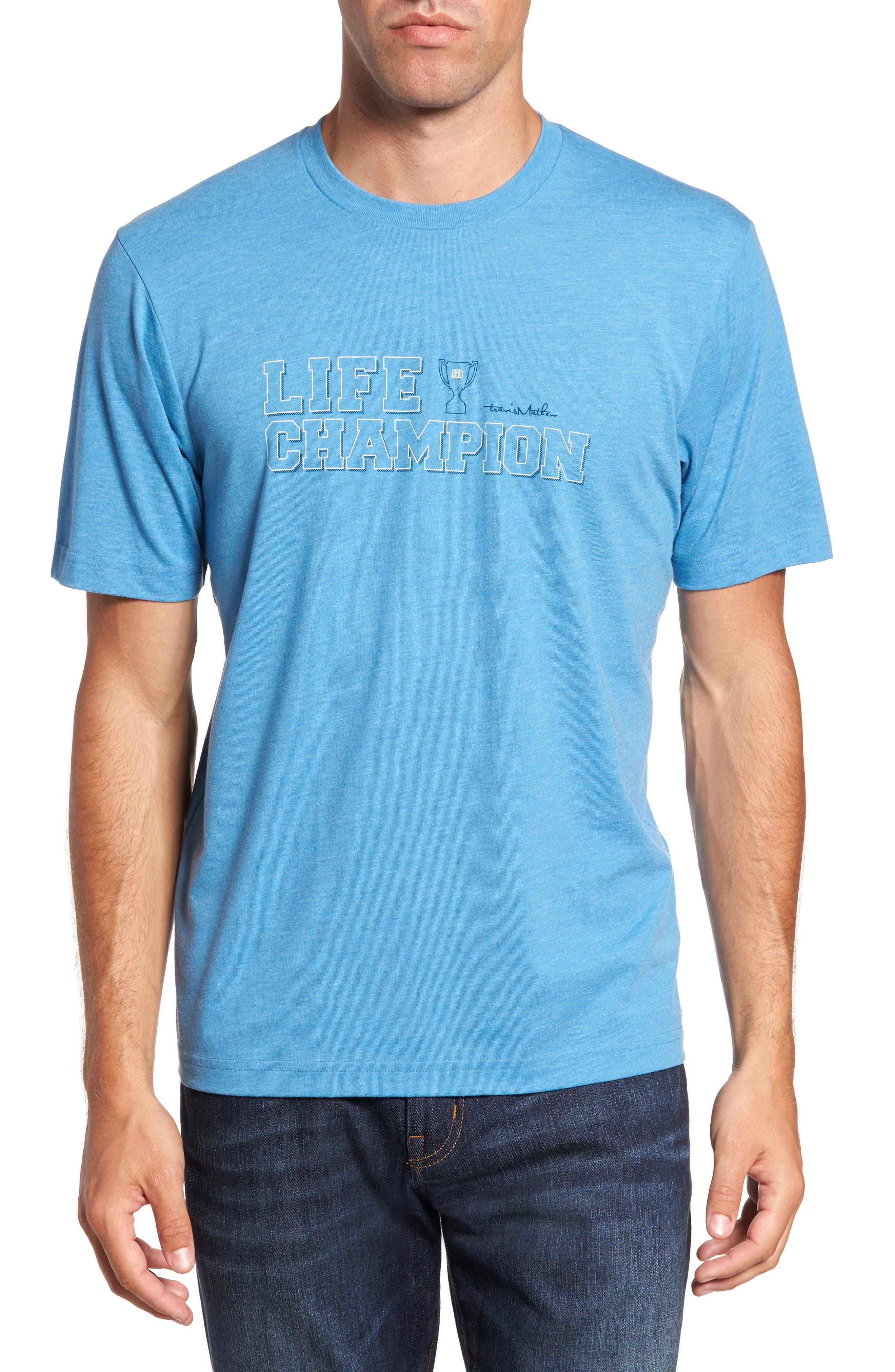 Life Champion Graphic T-Shirt,                         Main,                         color, Heather Blue