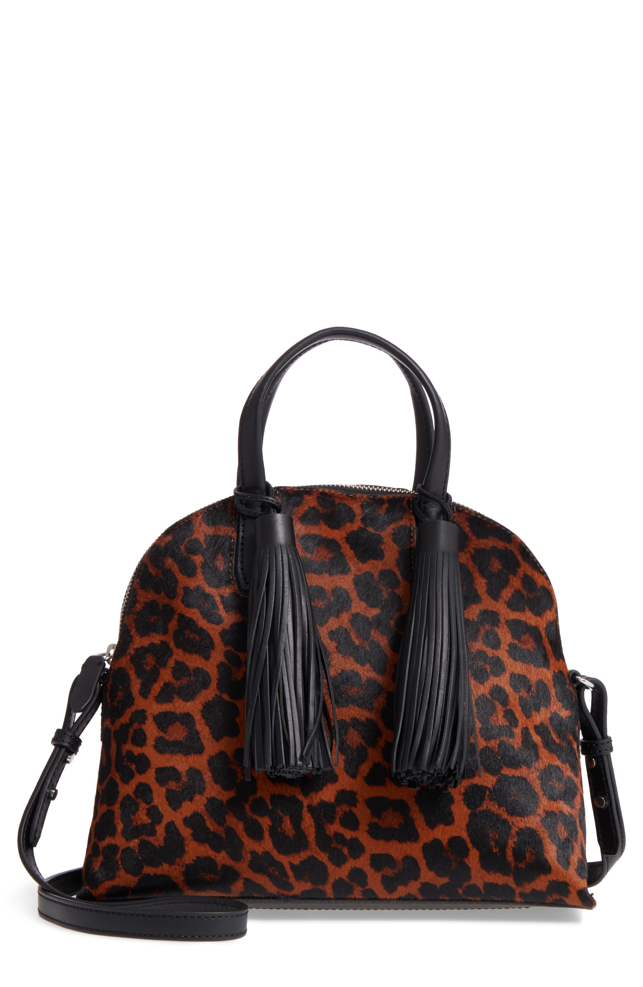 Genuine Calf Hair Dome Satchel,                             Main thumbnail 1, color,                             Leopard