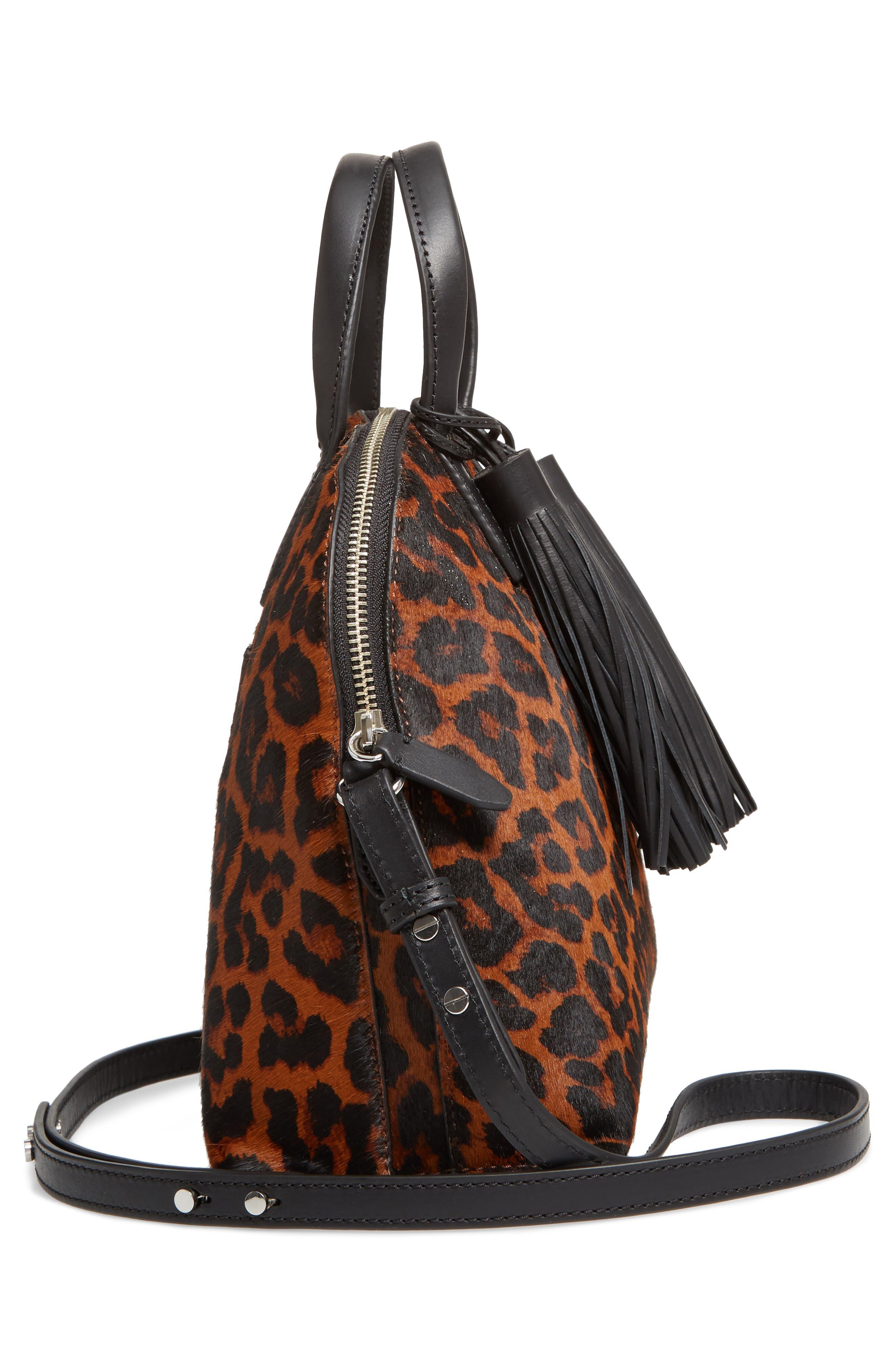 Genuine Calf Hair Dome Satchel,                             Alternate thumbnail 5, color,                             Leopard