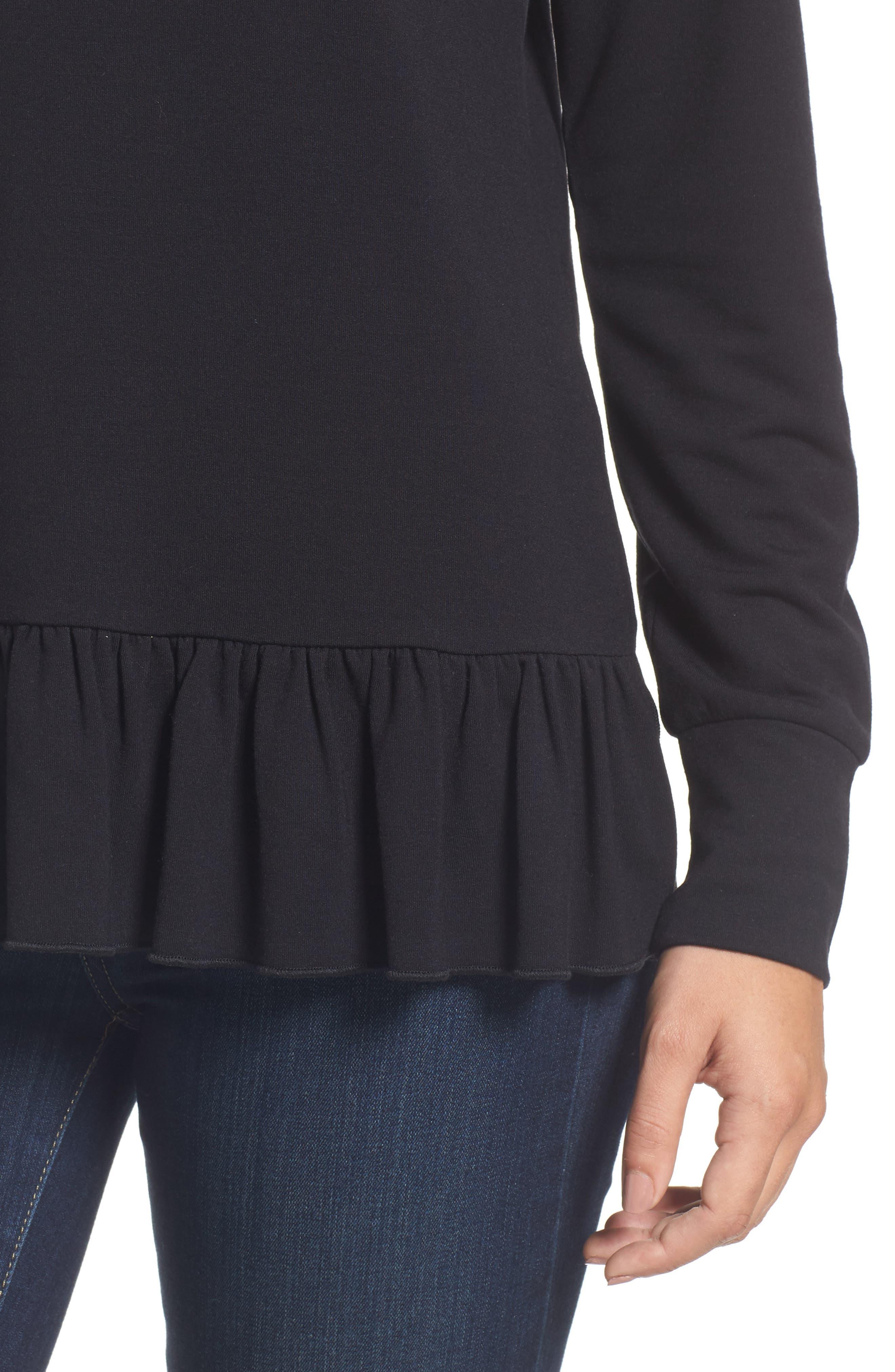 Alternate Image 4  - Halogen® Ruffle Hem Sweatshirt (Regular & Petite)