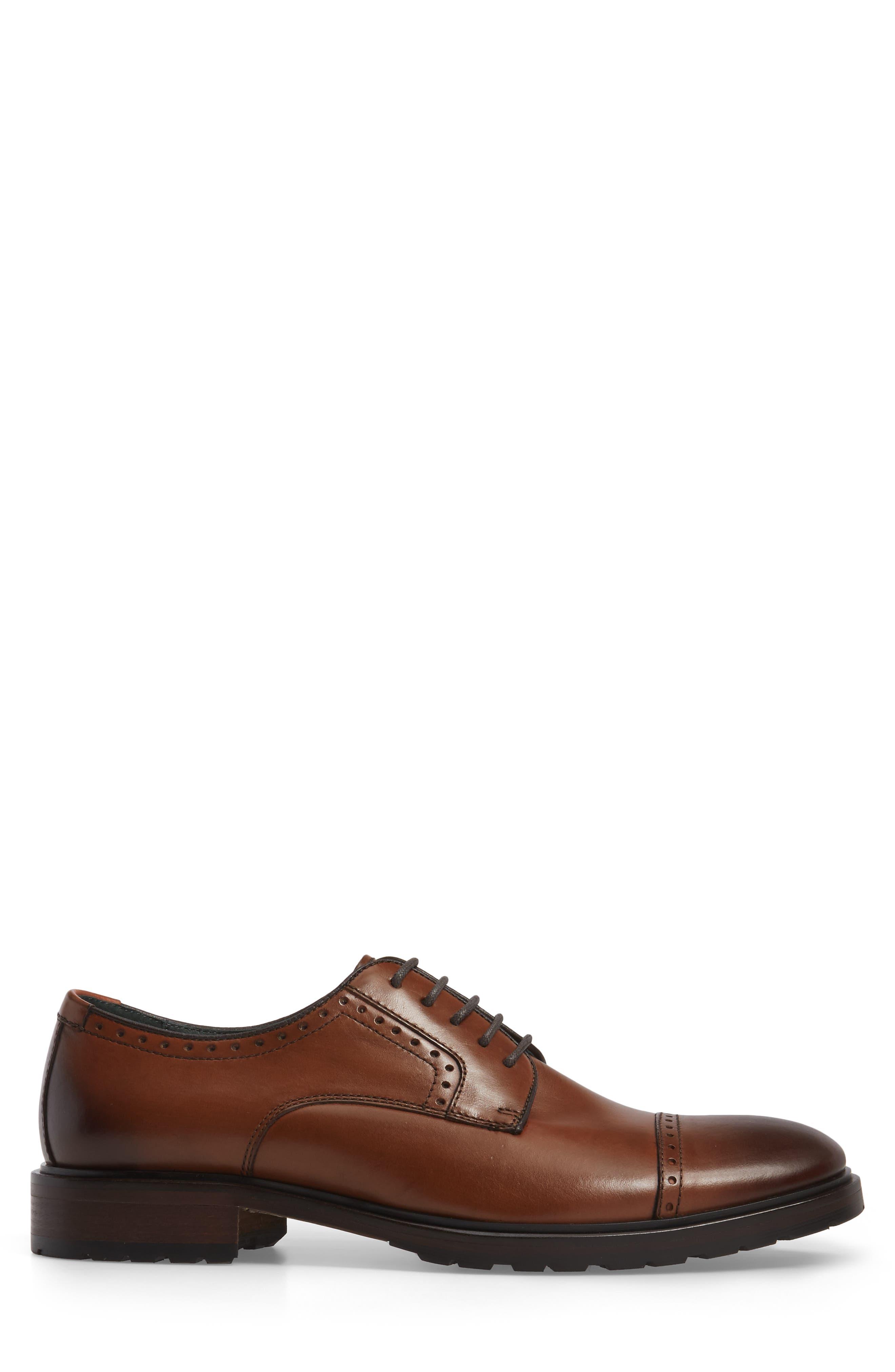 Myles Cap Toe Derby,                             Alternate thumbnail 3, color,                             Dark Cognac Leather
