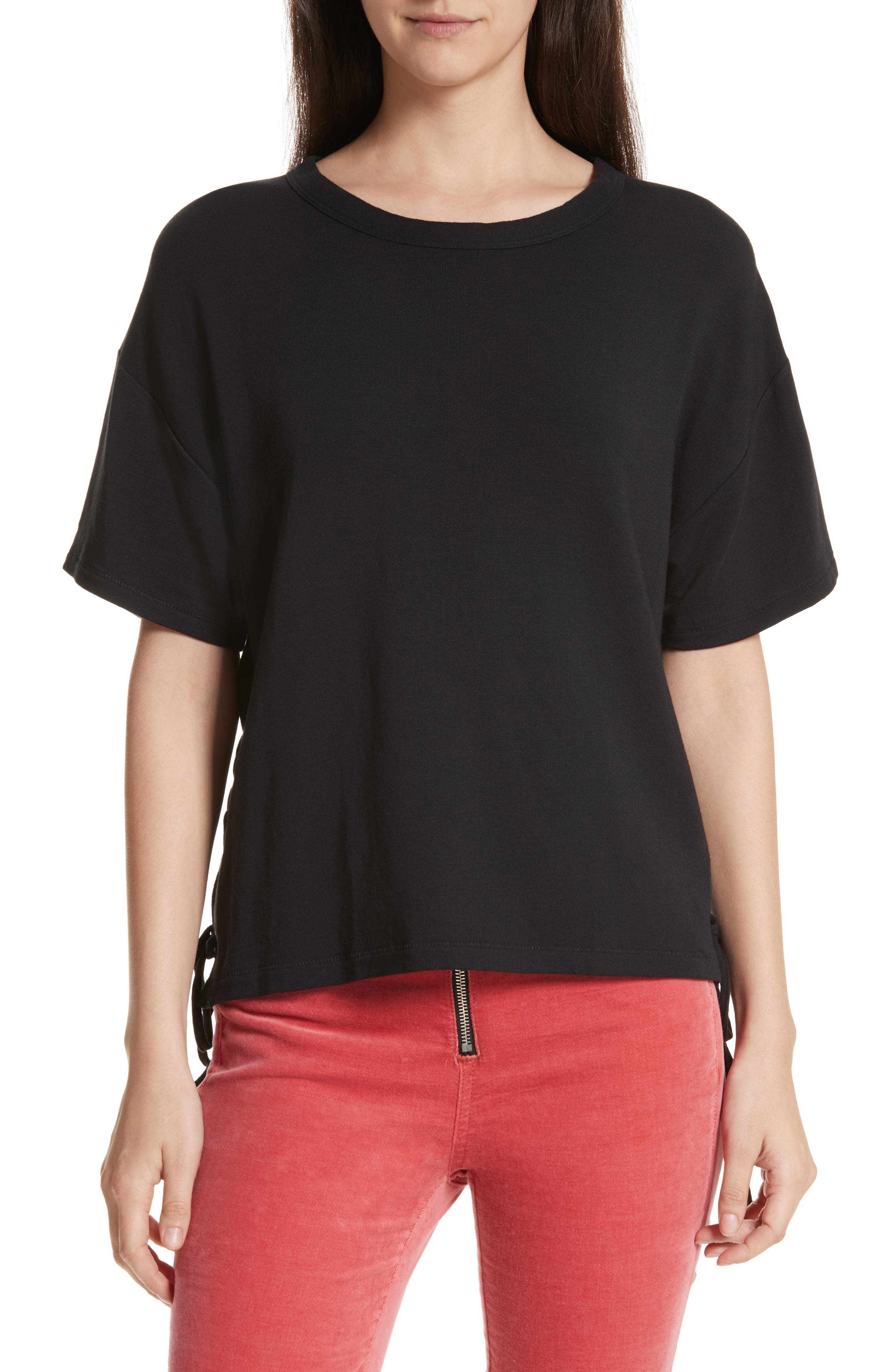 Lace-Up Tee,                         Main,                         color, Black