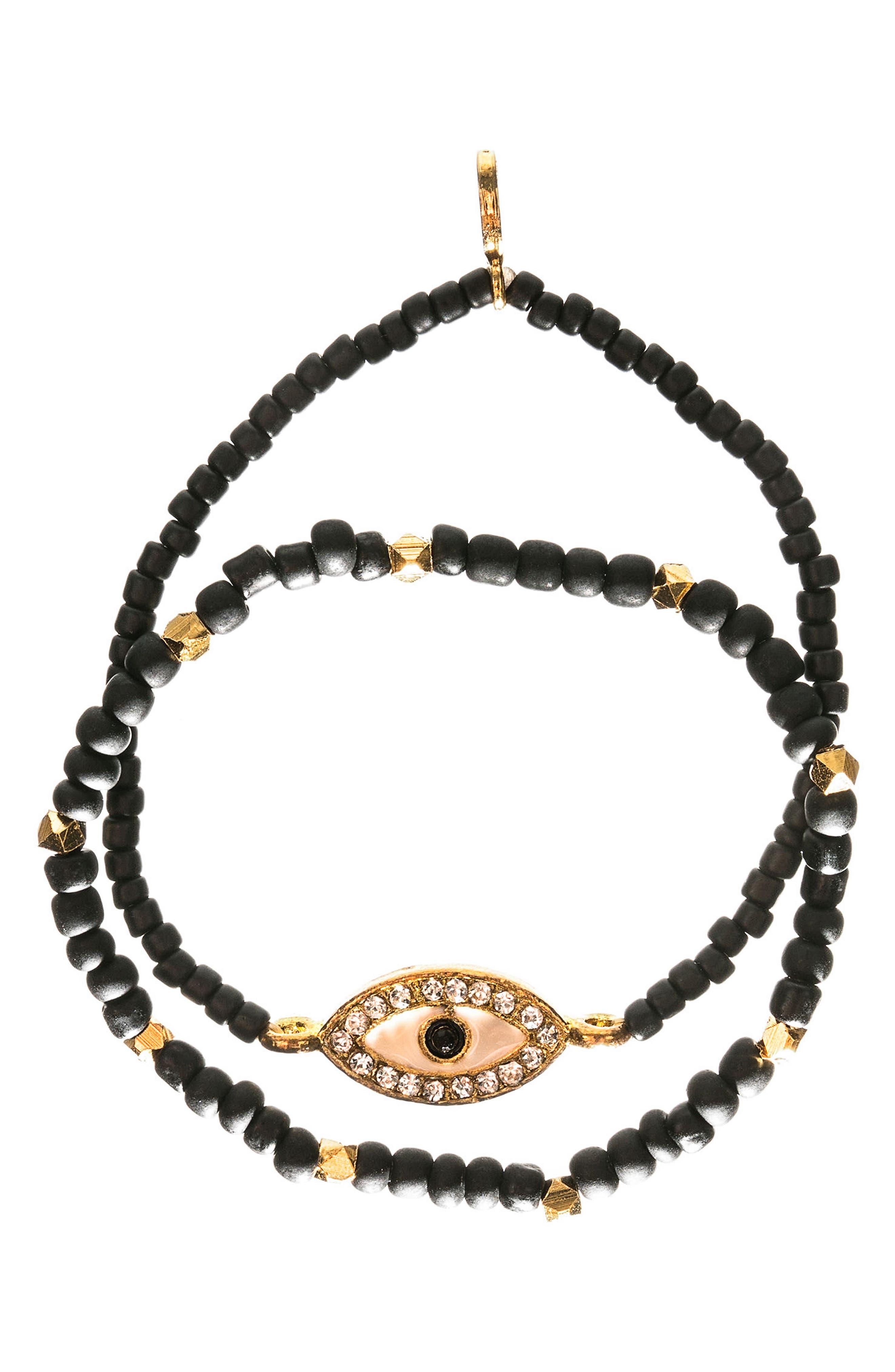 MHART Evil Eye Set of 2 Beaded Stretch Bracelets