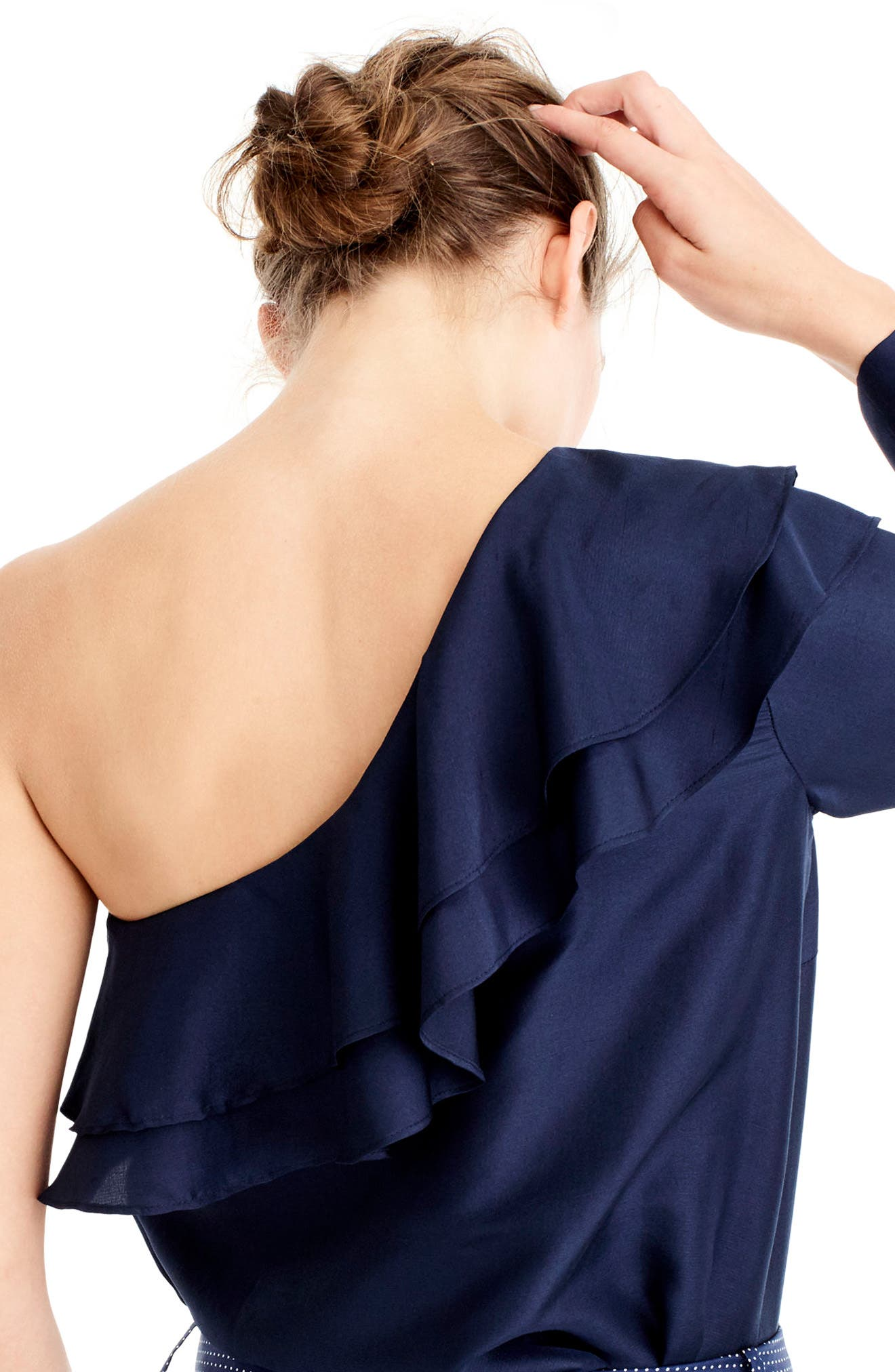 Alternate Image 2  - J.Crew One-Shoulder Silk Shantung Top