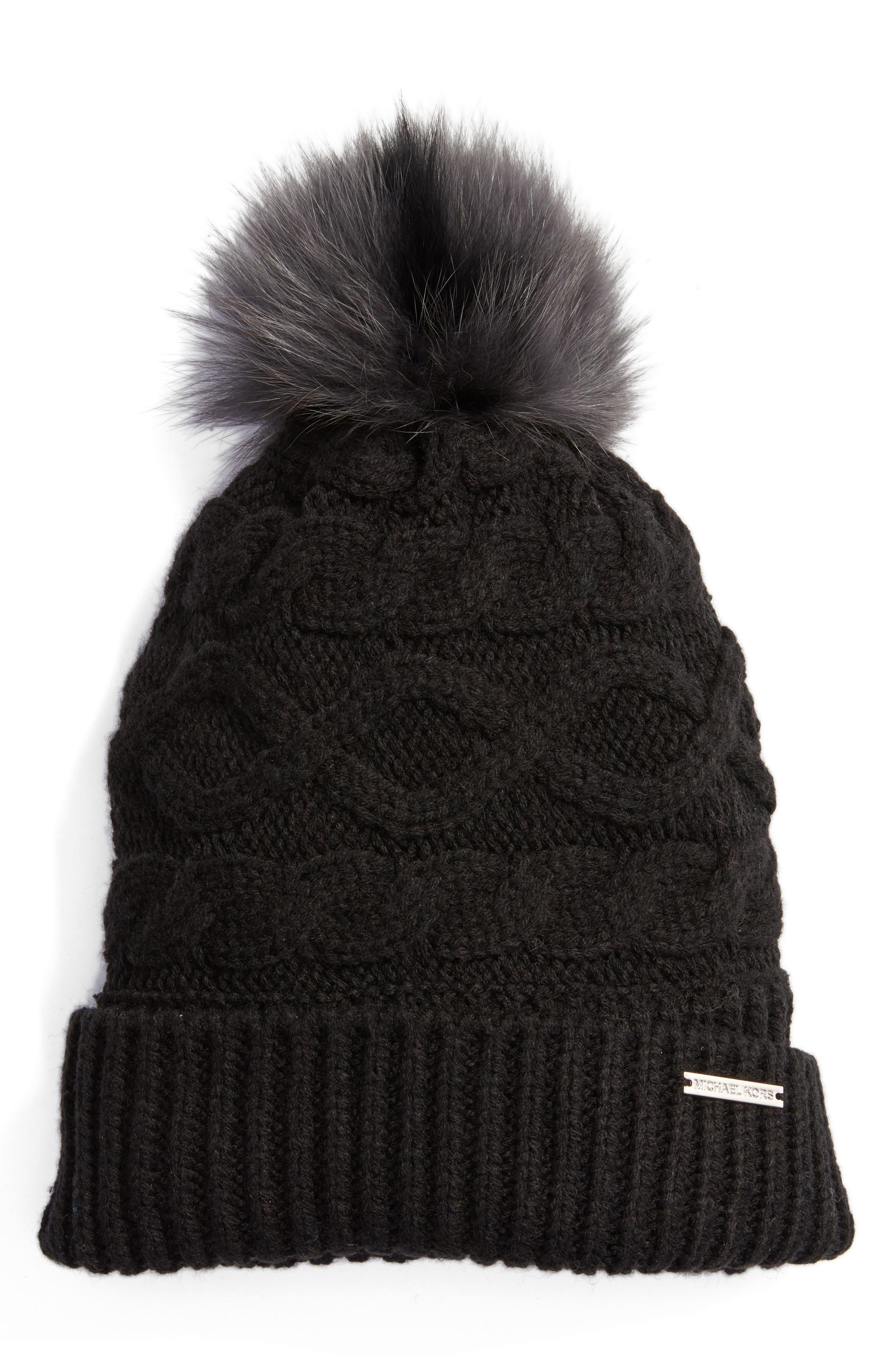 Genuine Rabbit Fur Pom Beanie,                         Main,                         color, Black/ Black/ Charcoal