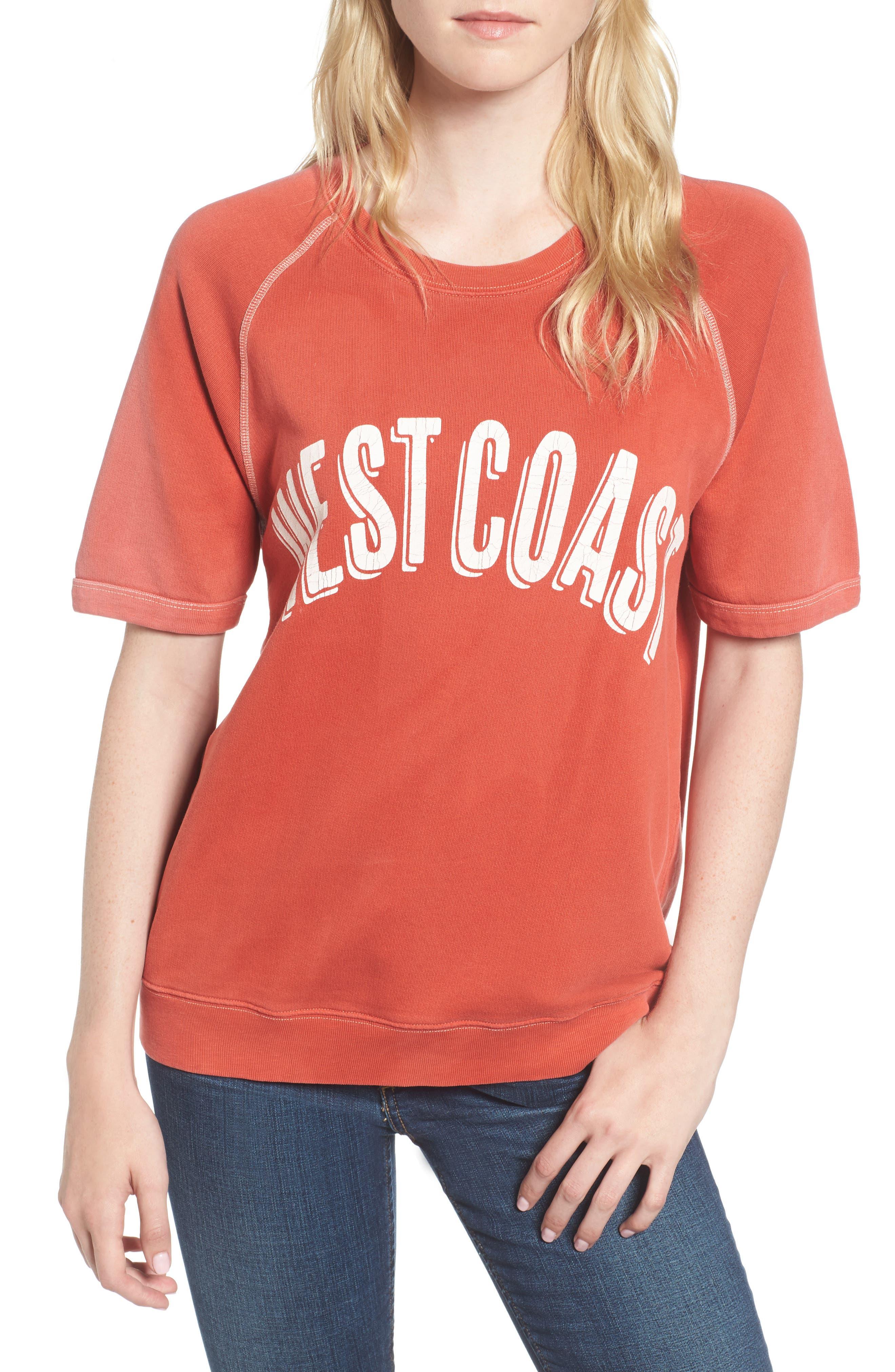 West Coast Sweatshirt,                         Main,                         color, Red