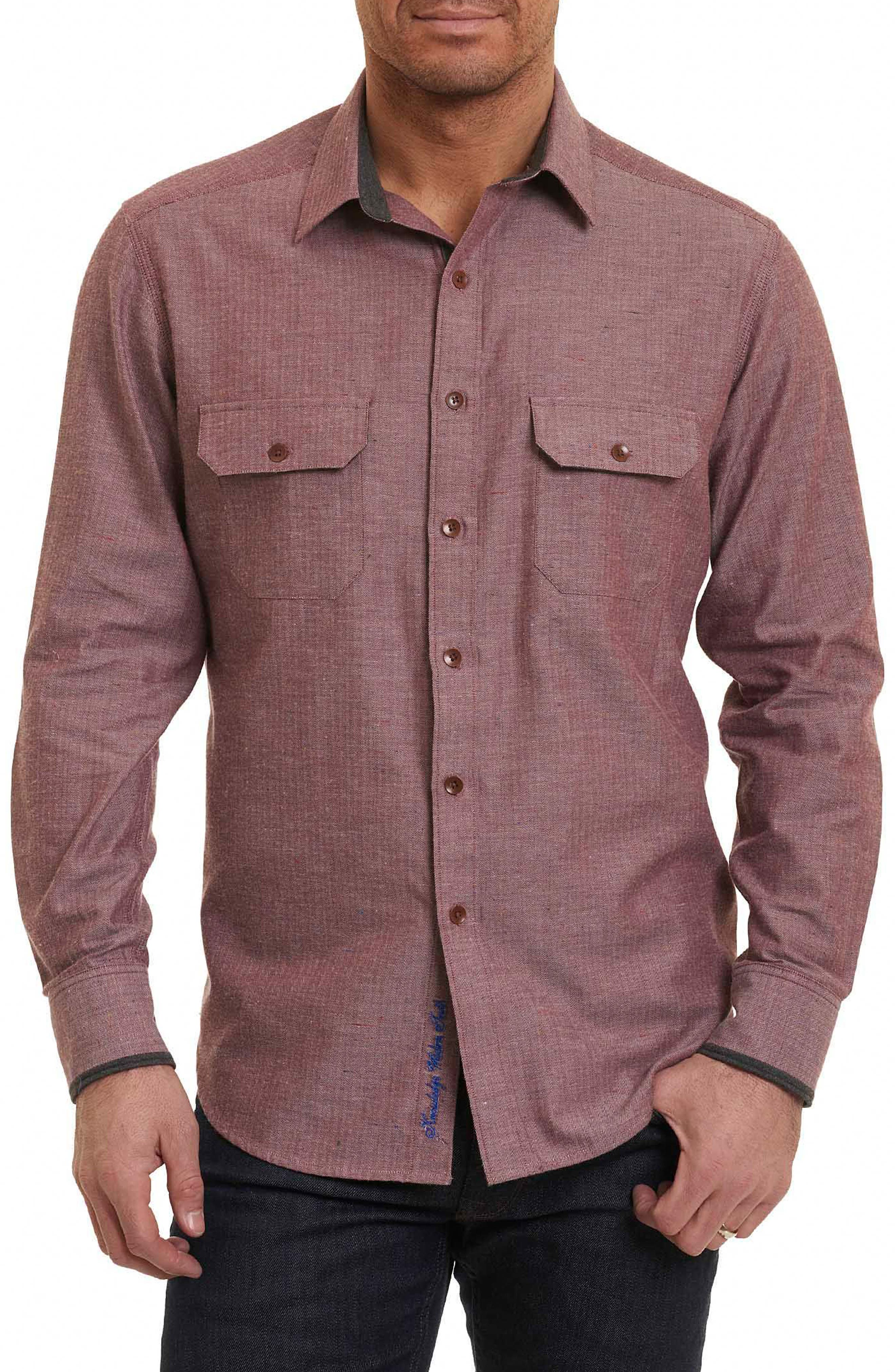 Upstate Classic Fit Herringbone Sport Shirt,                         Main,                         color, Red