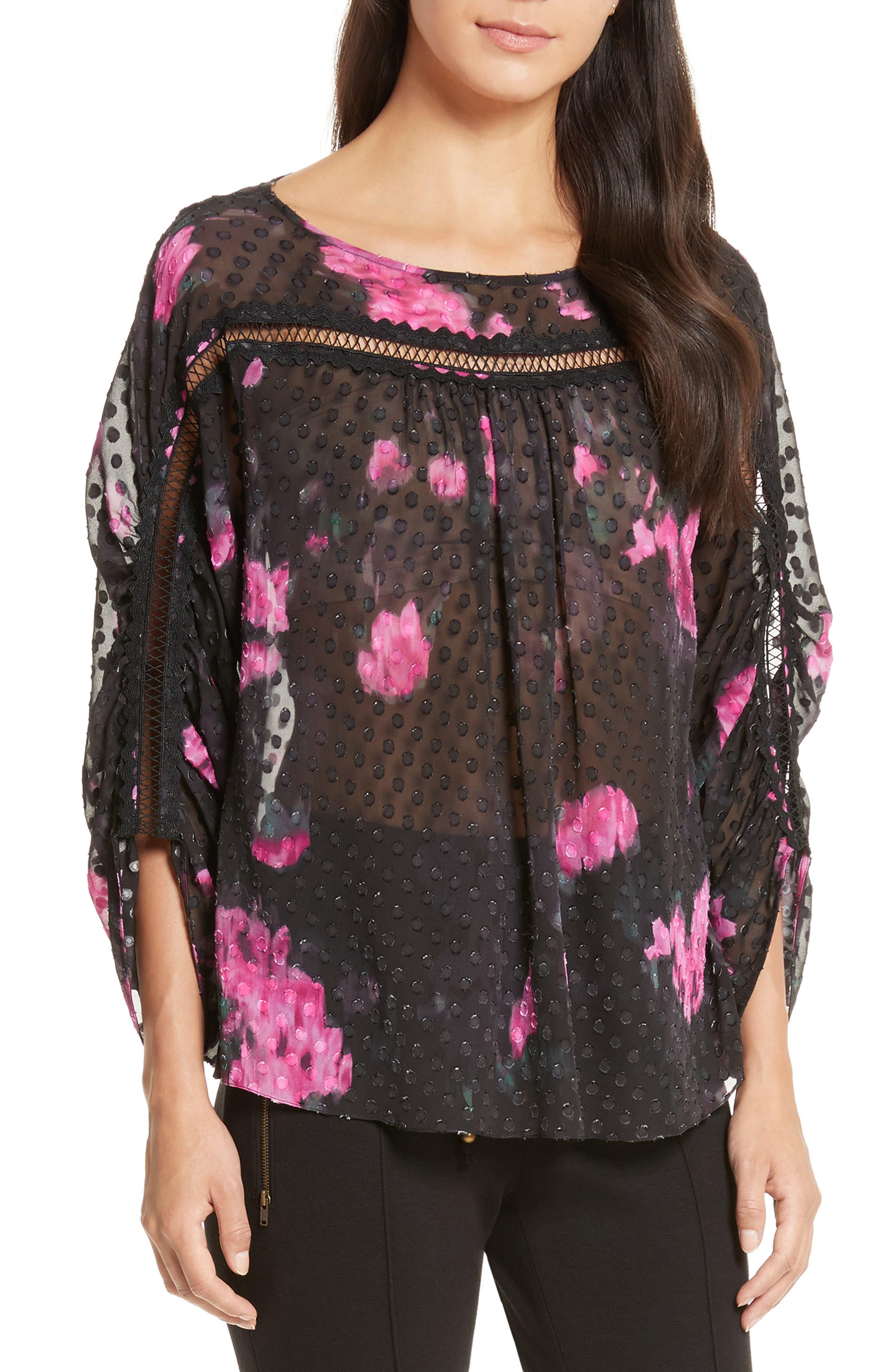 Floral Silk Blouse,                         Main,                         color, Black/ Cactus Warp Floral