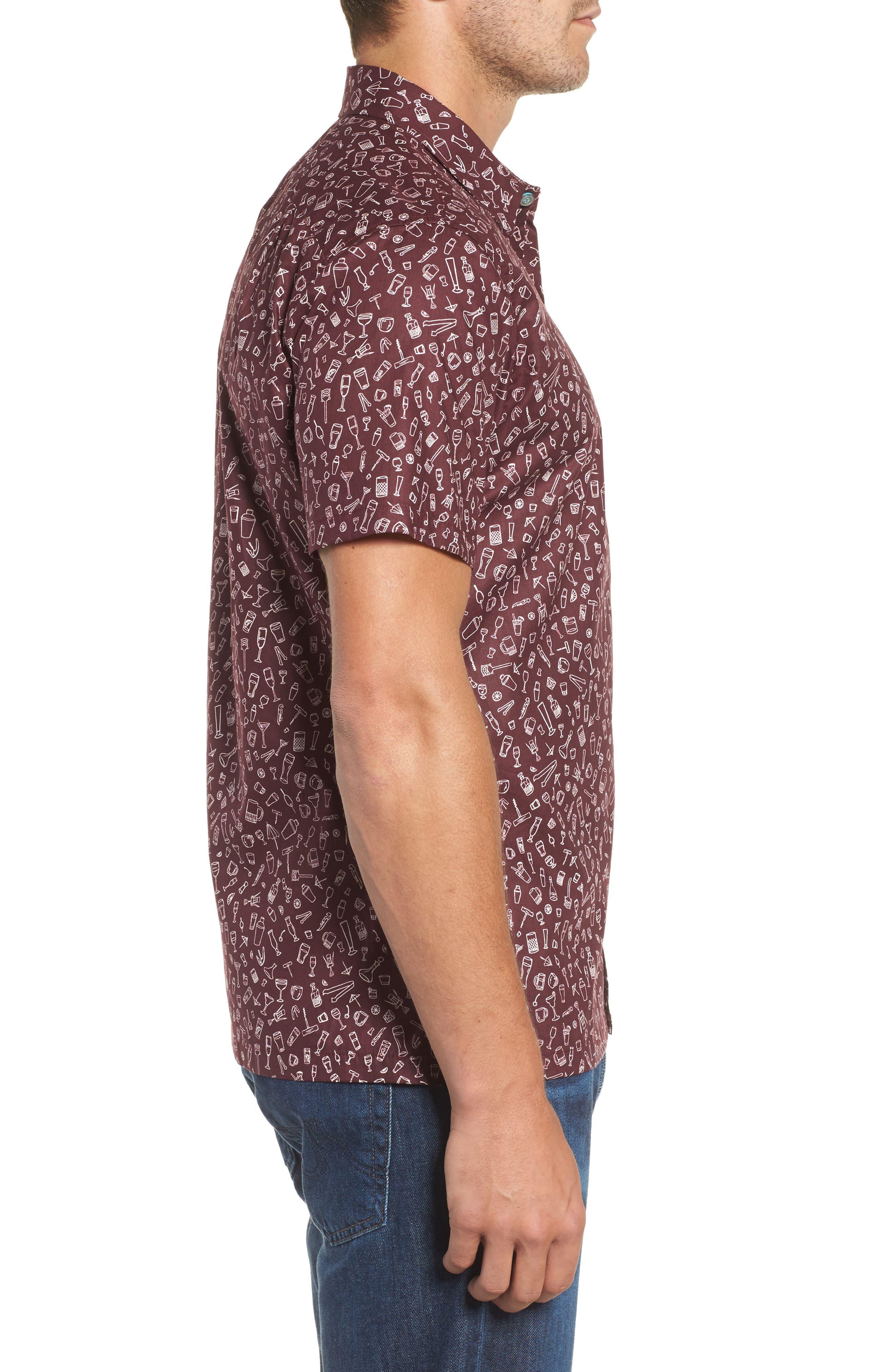 5 PM Slim Fit Camp Shirt,                             Alternate thumbnail 3, color,                             Wine