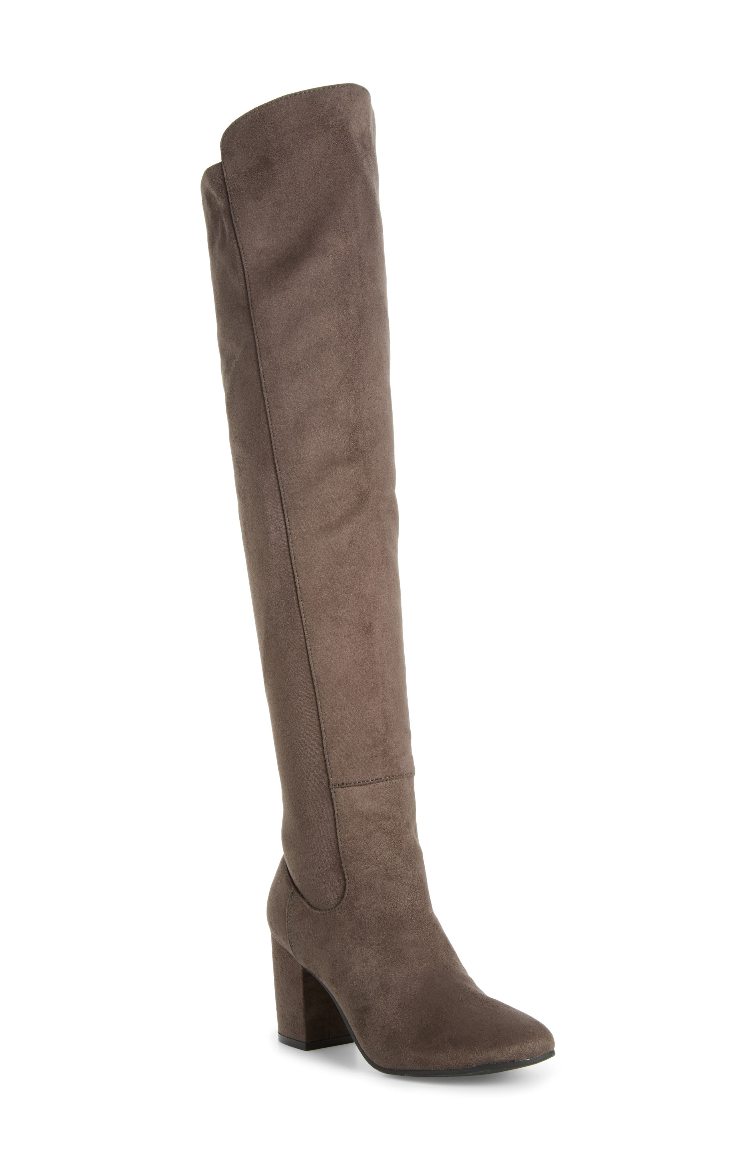 Lynx Stretch Over the Knee Boot,                             Main thumbnail 1, color,                             Charcoal Faux Suede