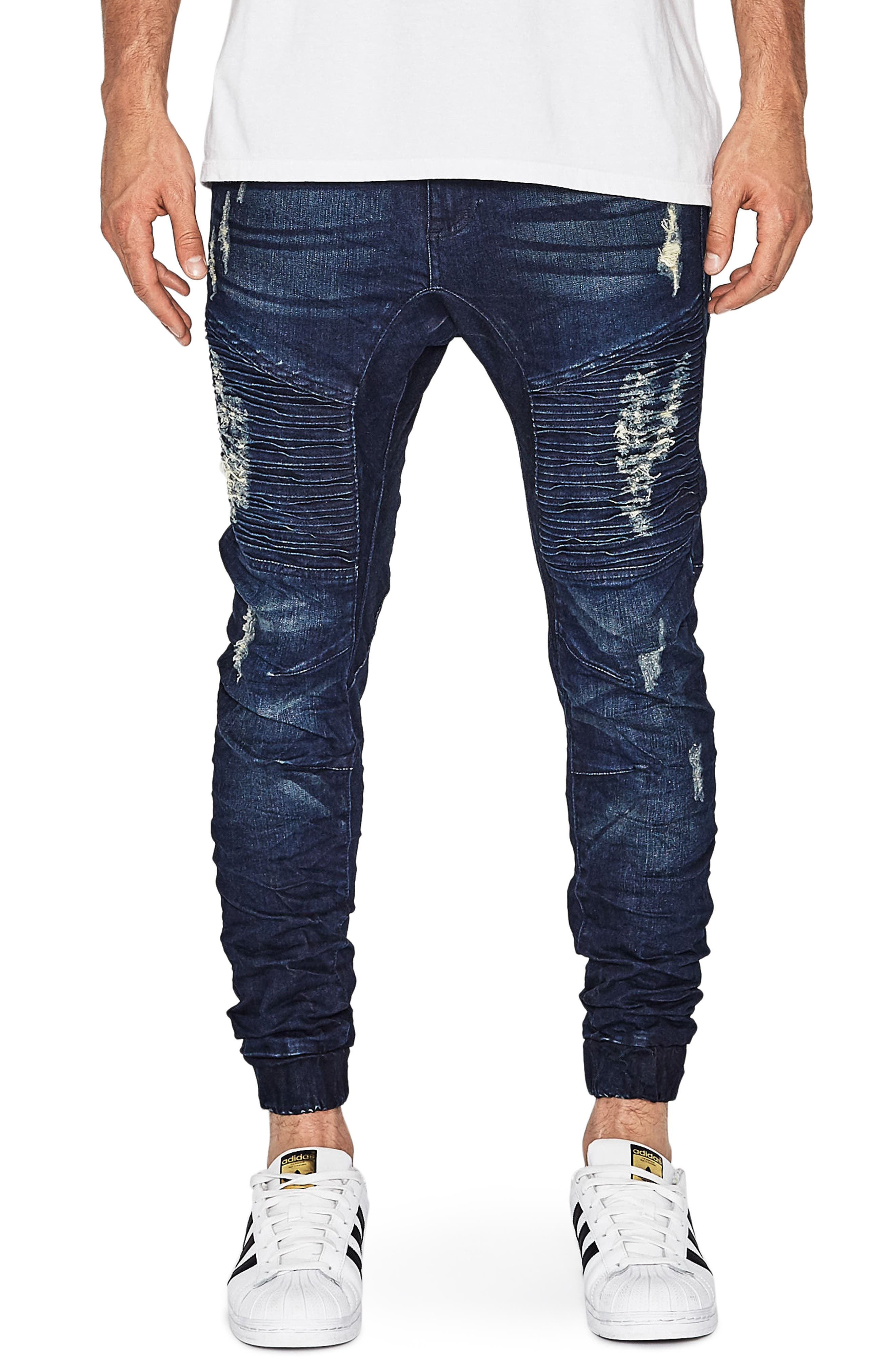 NXP Destroyer Moto Denim Jogger Pants (Blue Trash)