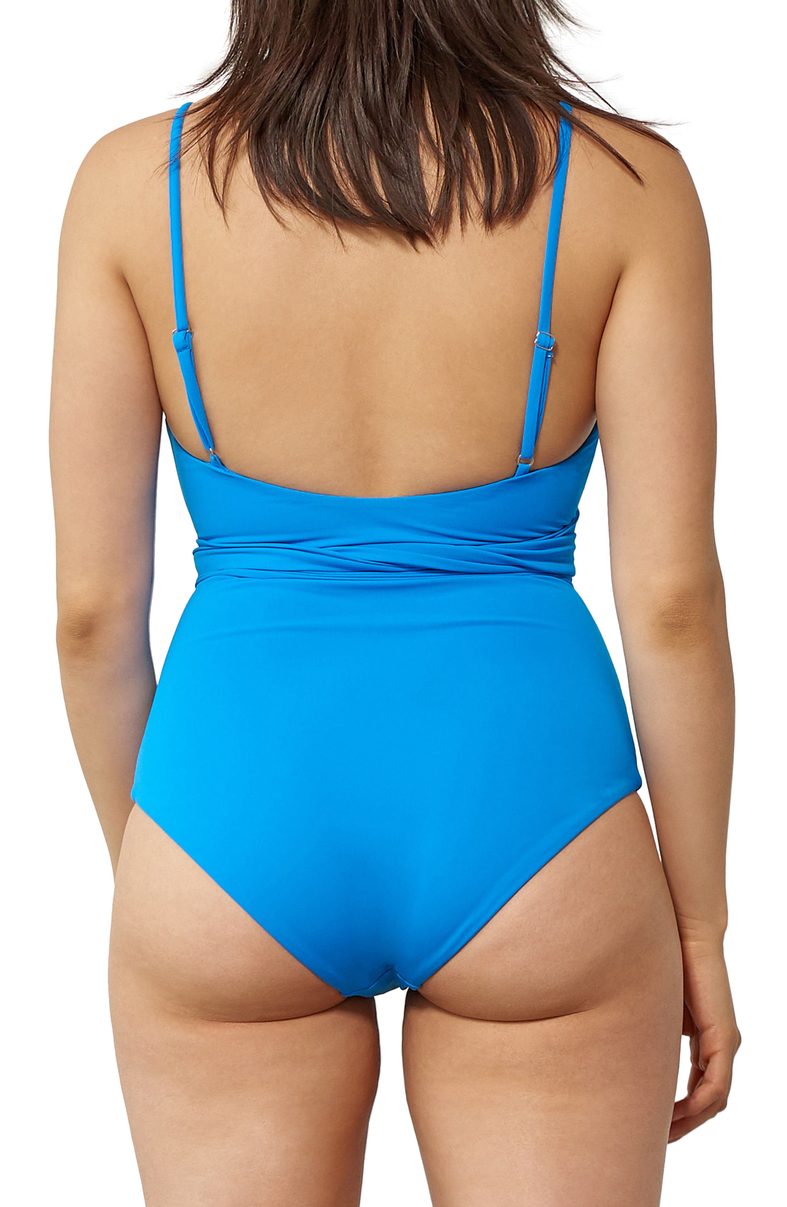 Isolde Tie Front One-Piece Swimsuit,                             Alternate thumbnail 2, color,                             Blue