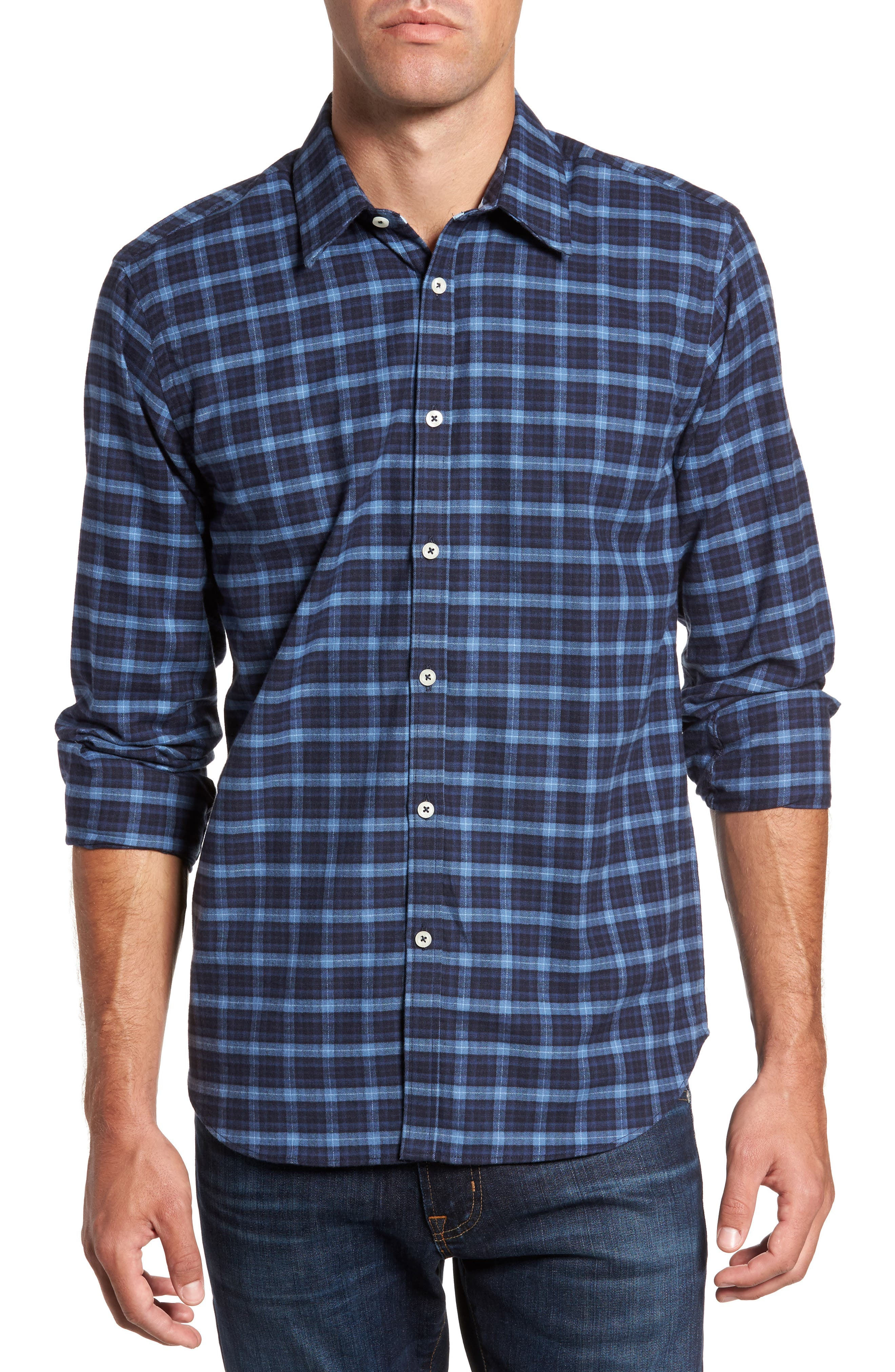 Regular Fit Plaid Sport Shirt,                         Main,                         color, Navy