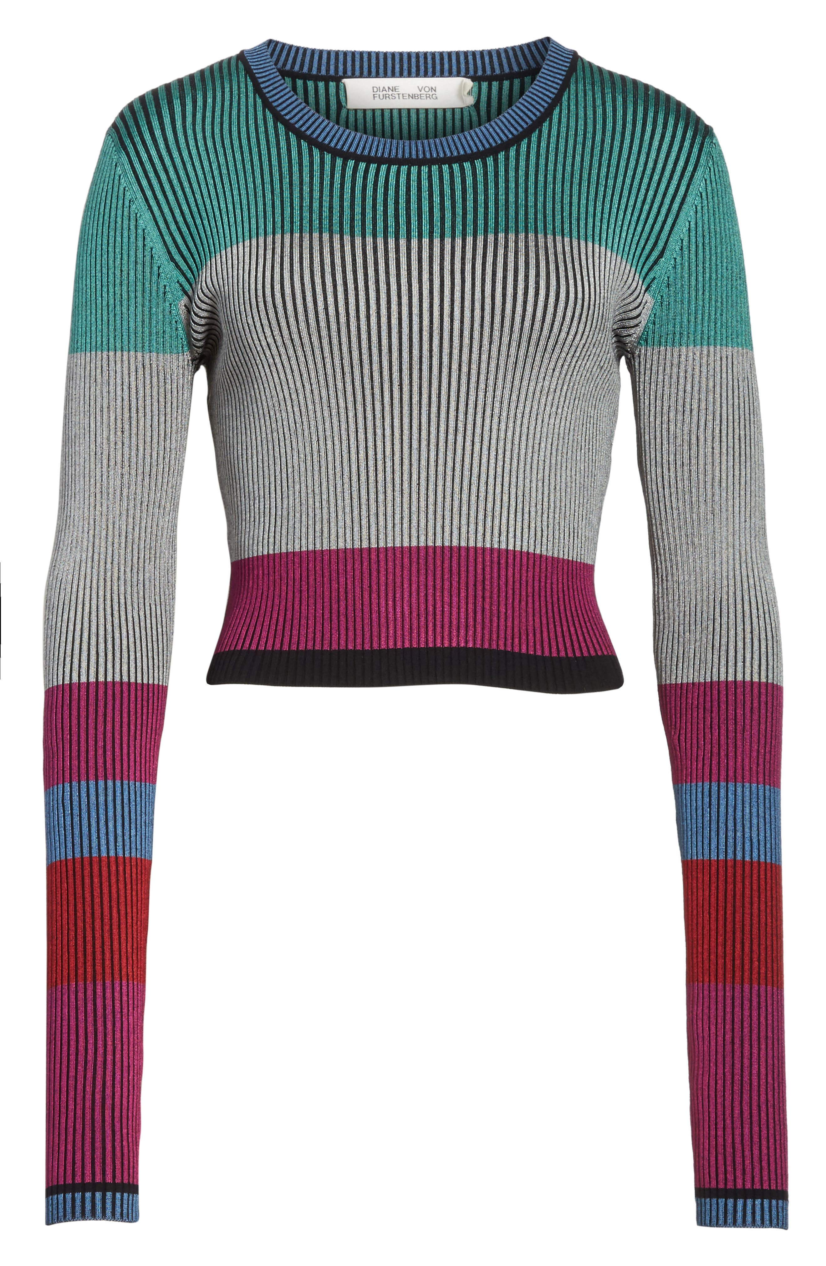 Diane von Furstenberg Cropped Plaited Pullover,                             Alternate thumbnail 6, color,                             Ribbon Pink Multi