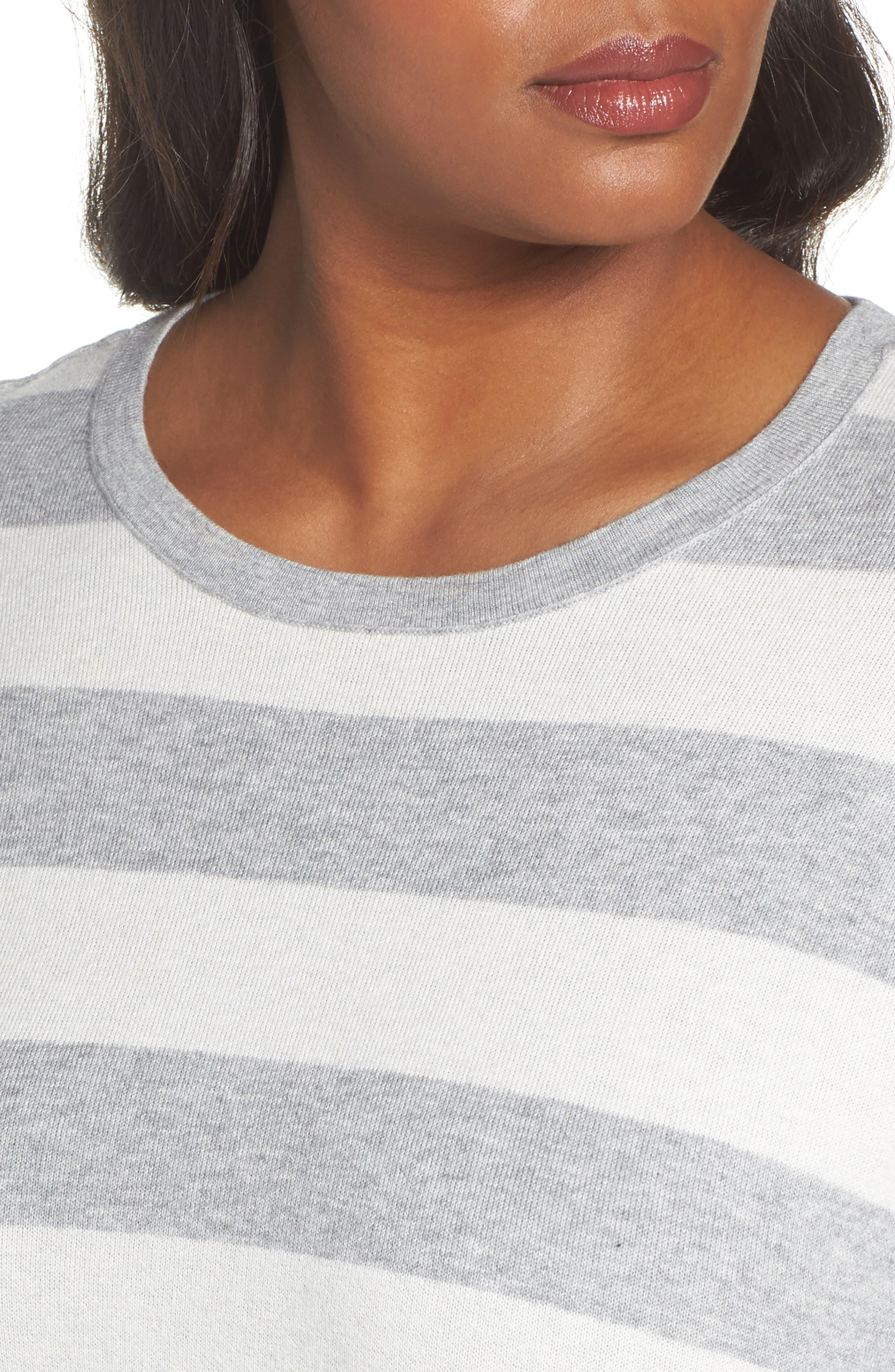 Alternate Image 4  - Eileen Fisher Stripe Organic Cotton Blend Top (Plus Size)
